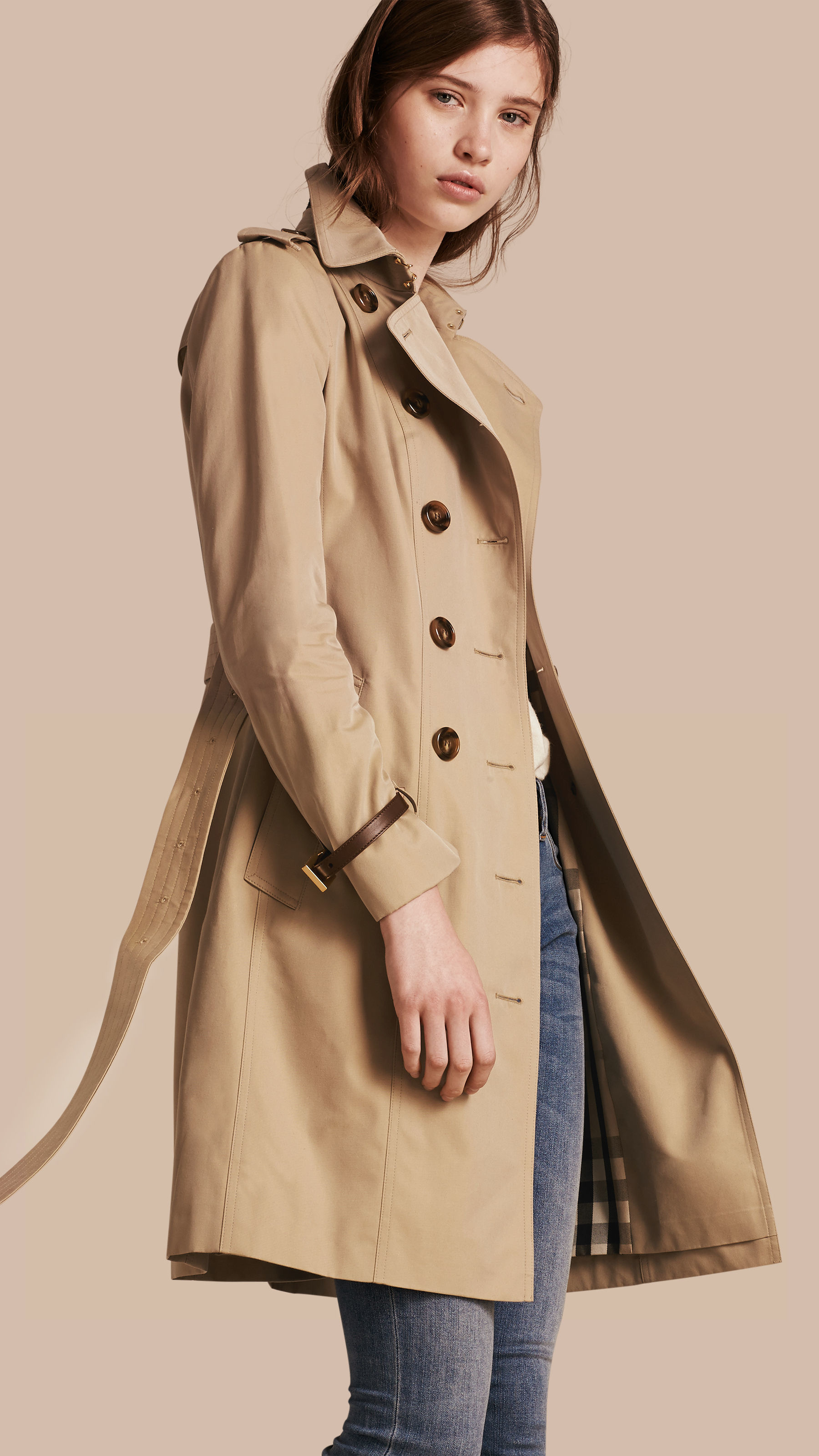 804e7a80cca50c Burberry Leather Trim Cotton Gabardine Trench Coat in Brown - Lyst