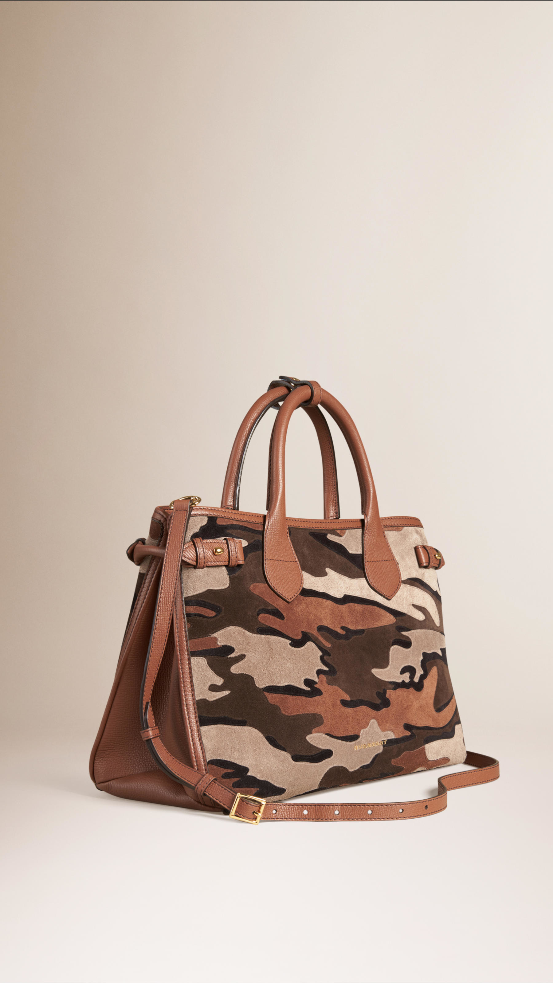 Lyst - Burberry The Medium Banner Camouflage Suede Bag in . cfbdea6e1a9c8