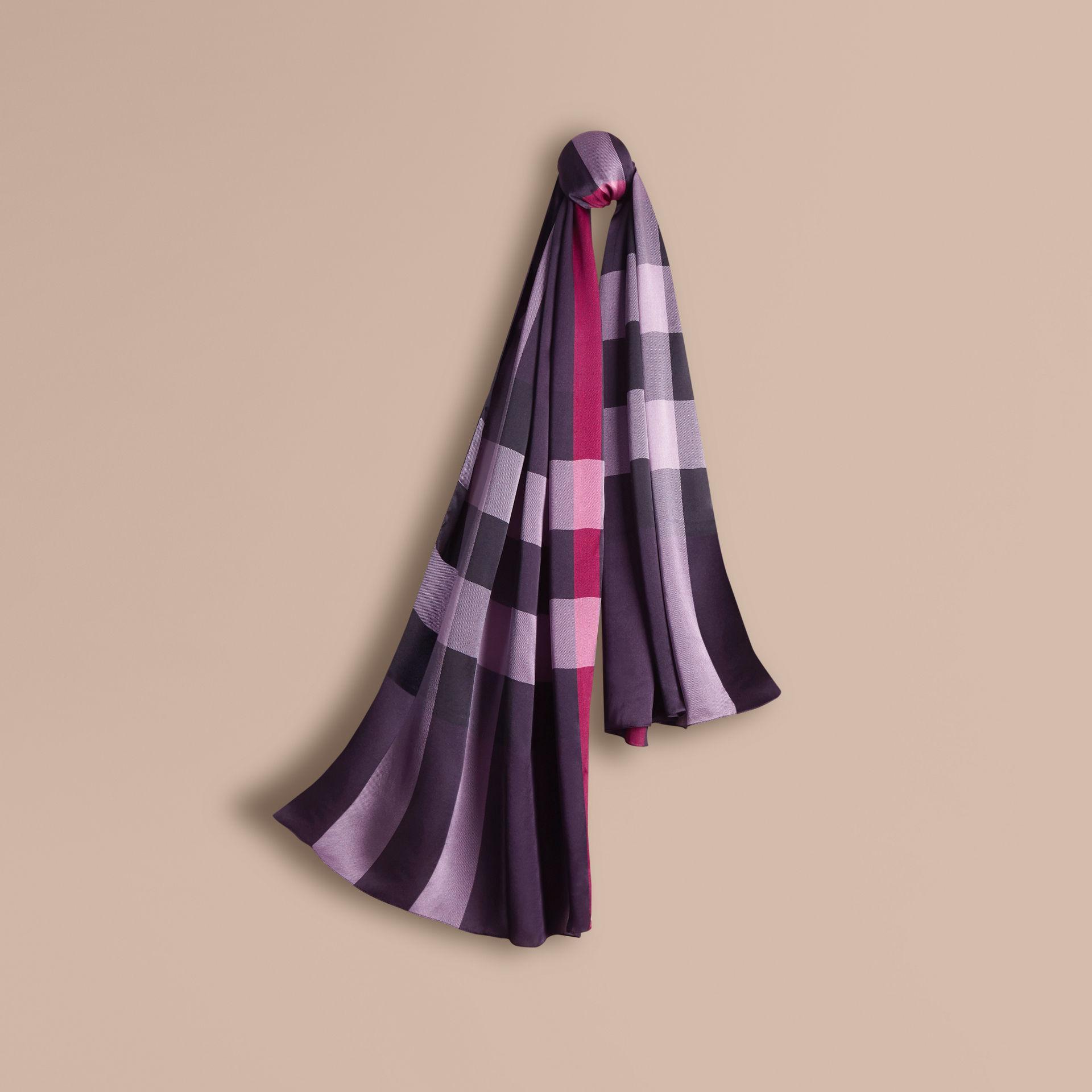 c95846218622 Lyst - Burberry Check Silk Satin Scarf Regency Purple in Purple