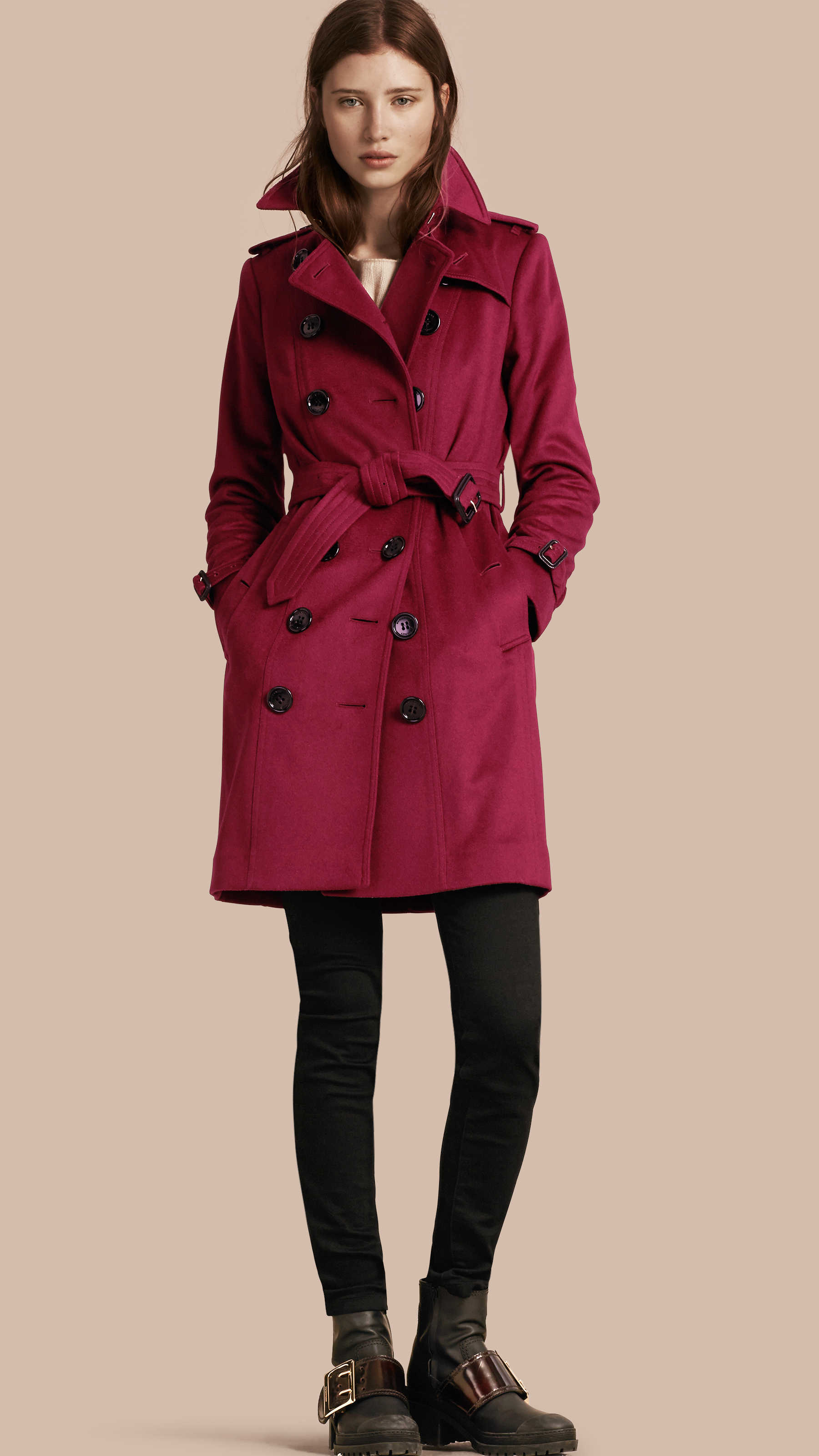 Burberry Sandringham Fit Cashmere Trench Coat Cherry Pink in Red ...
