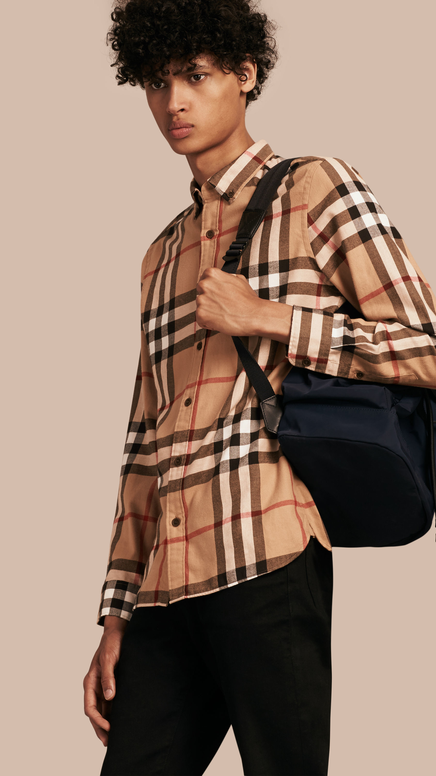 Burberry Check Cotton Flannel Shirt in Orange for Men - Lyst 021861ef3376