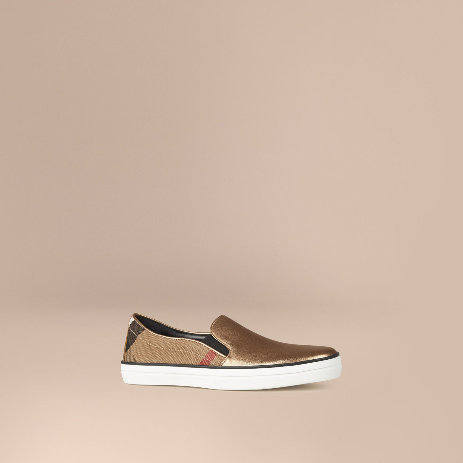 burberry check and leather slip on trainers lyst