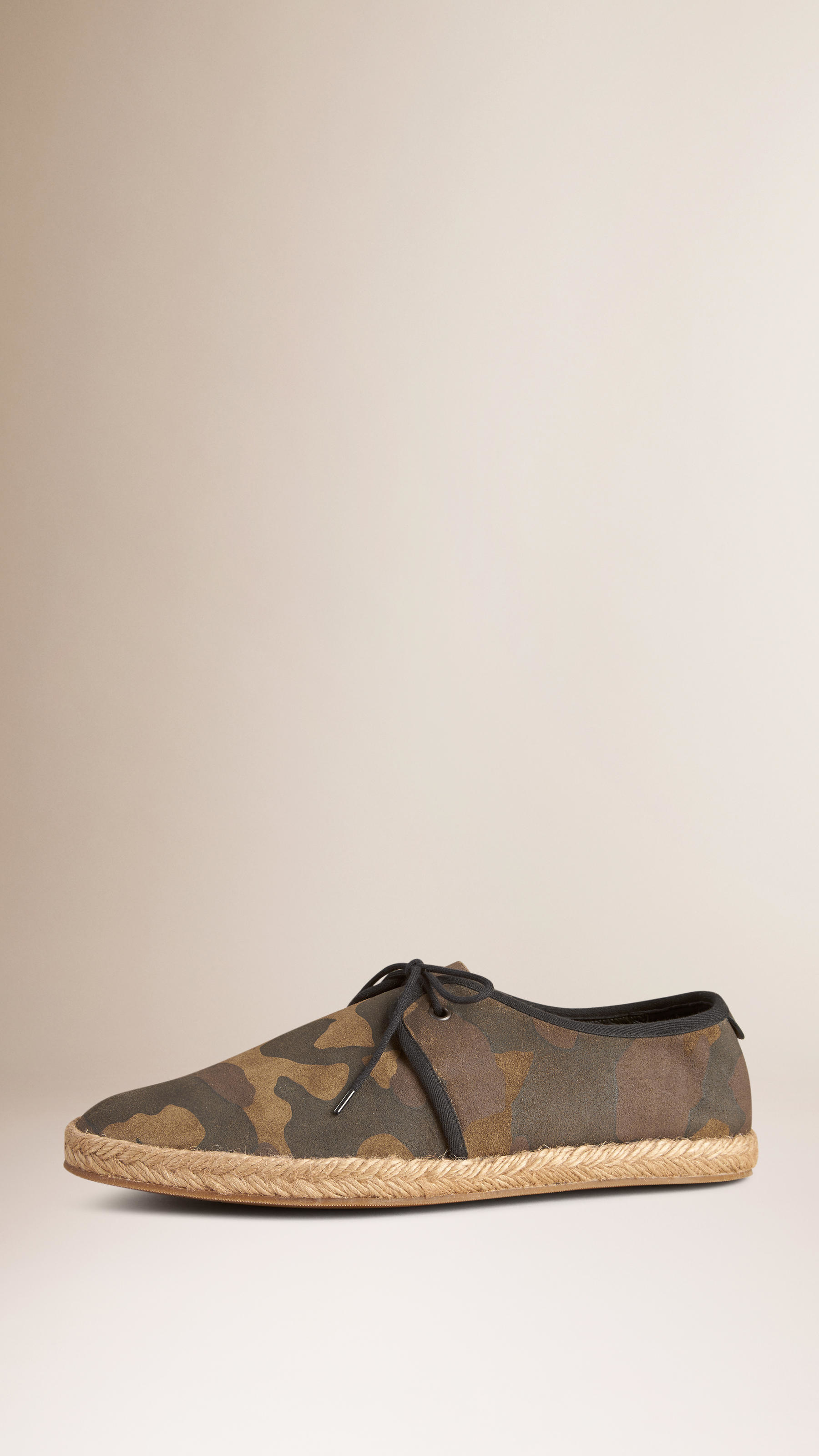 5ce471cf03126 Burberry Camouflage Print Suede Lace-up Espadrilles in Green for Men ...