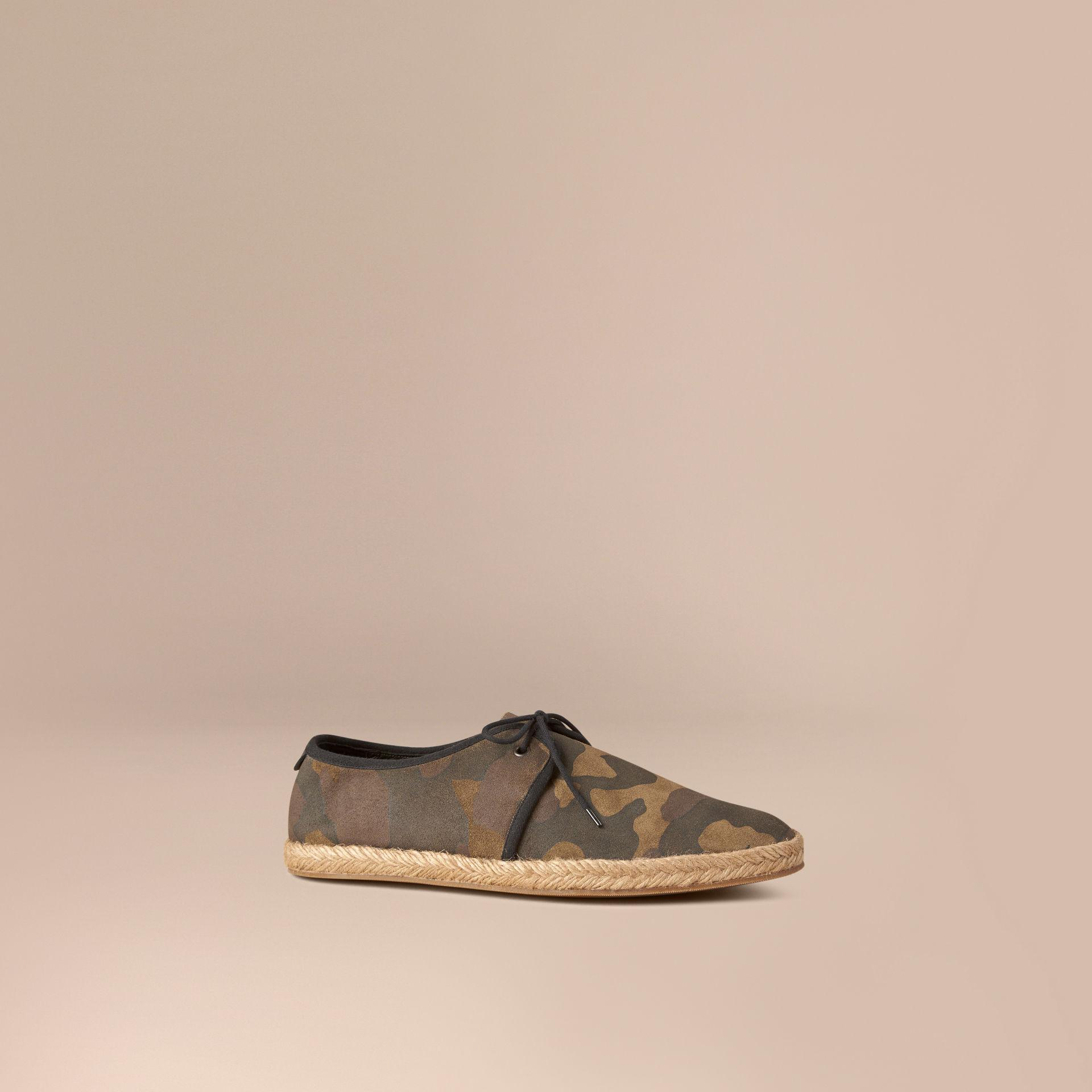 87079abd3c538 Lyst - Burberry Camouflage Print Suede Lace-up Espadrilles in Green