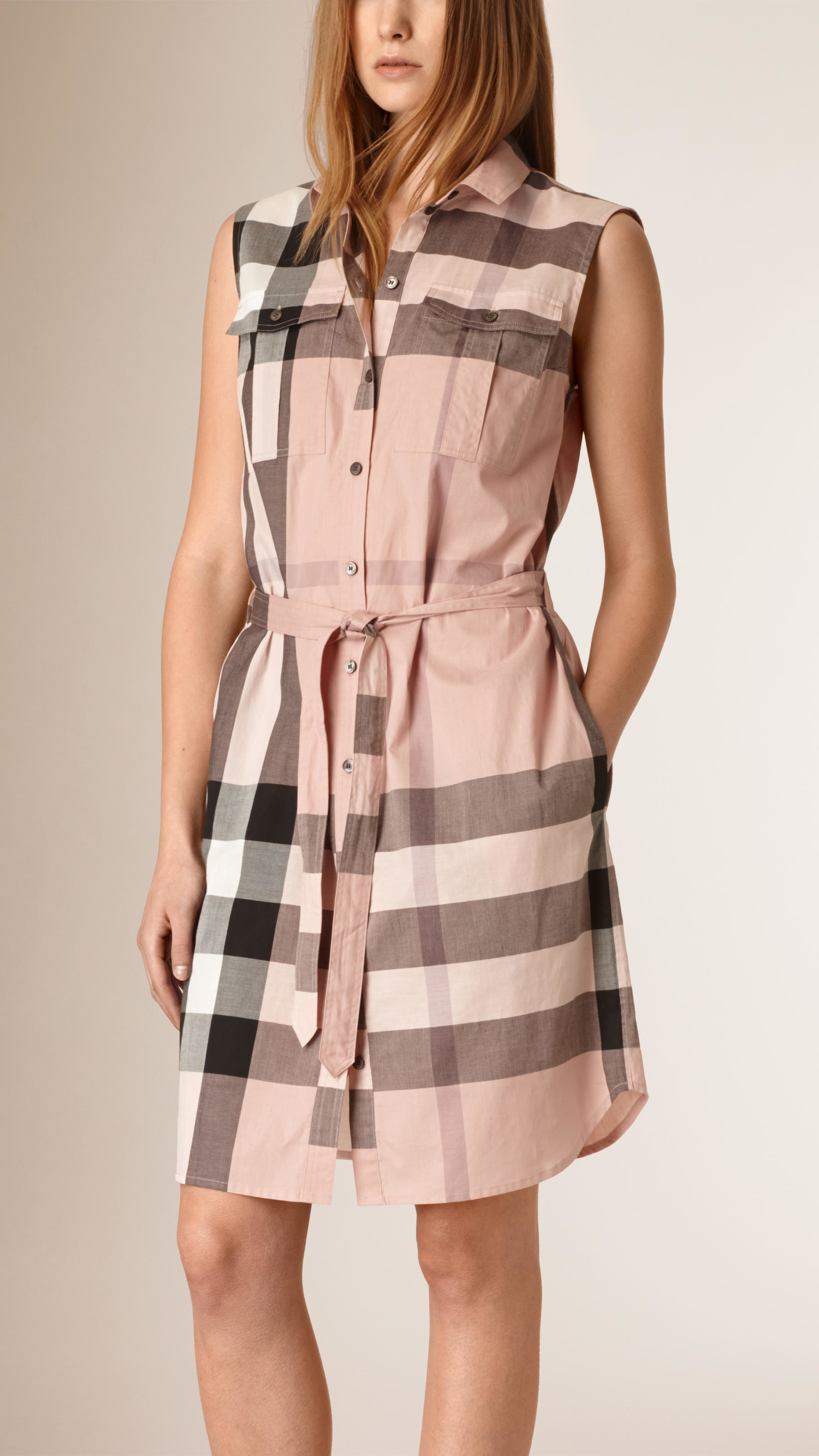 Burberry Exploded Check Cotton Shirt Dress Lyst