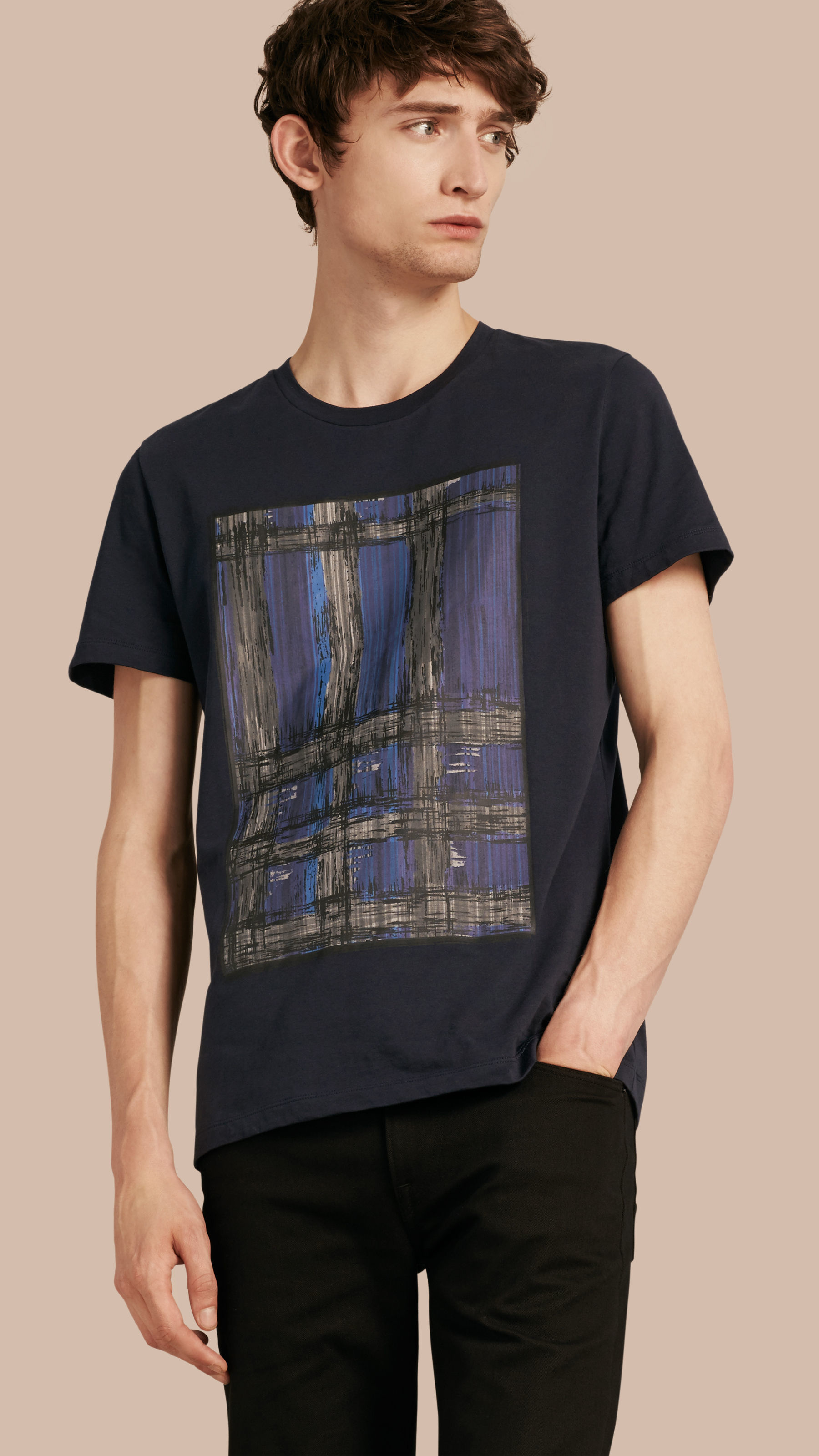 Burberry graphic check motif t shirt in blue for men lyst for T shirt burberry men