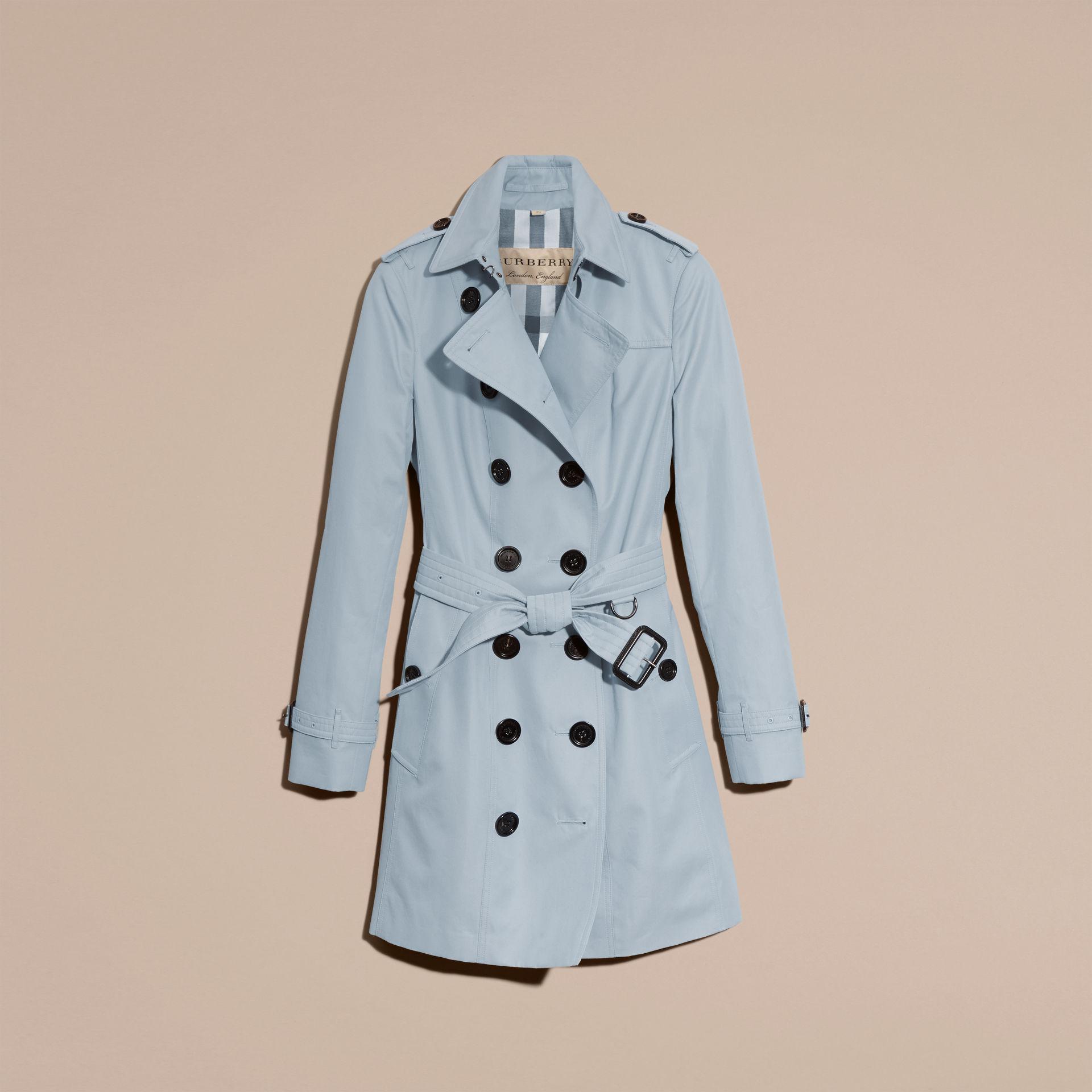 Lyst Burberry Cotton Gabardine Trench Coat Pale Sky Blue