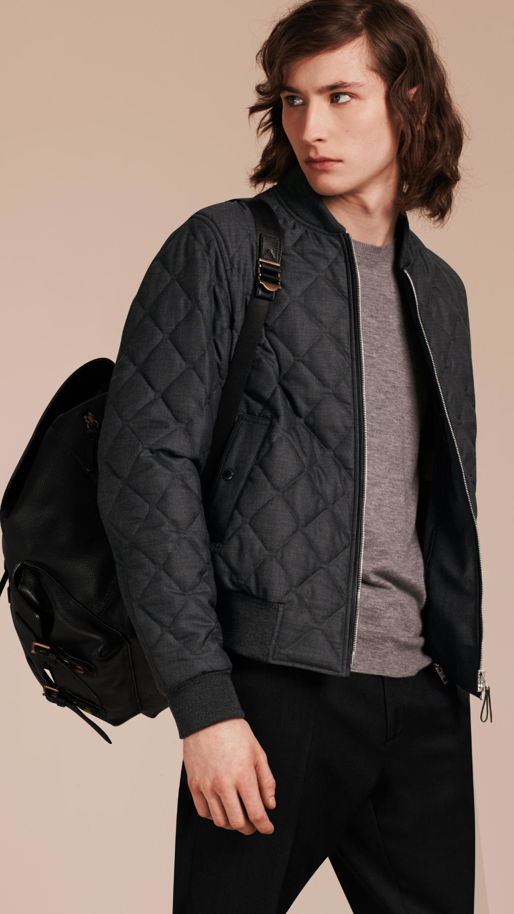 Burberry Lambskin Trim Quilted Wool Bomber Jacket In