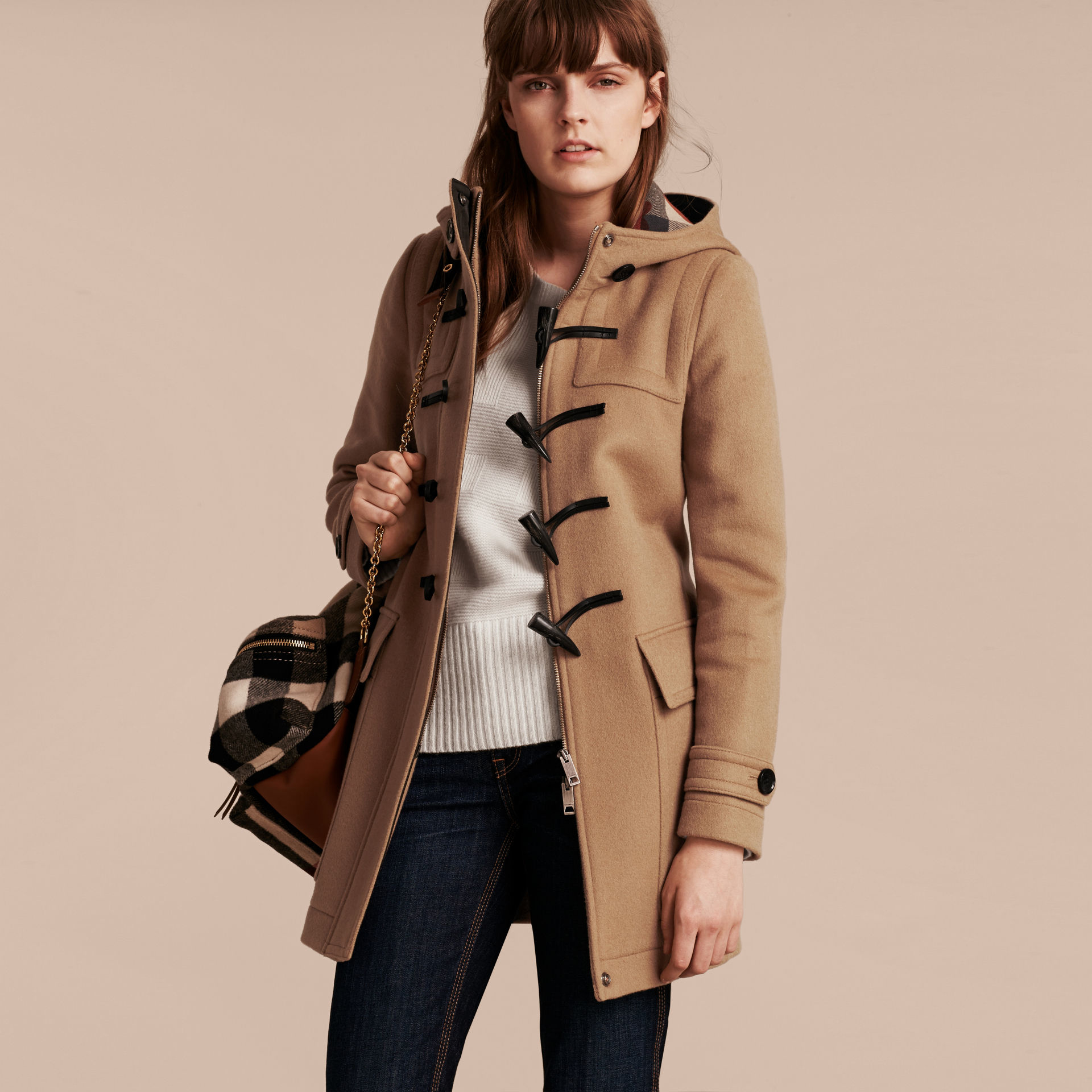 c54758eb62637 Lyst - Burberry Wool Duffle Coat With Check And Hearts Lining New ...