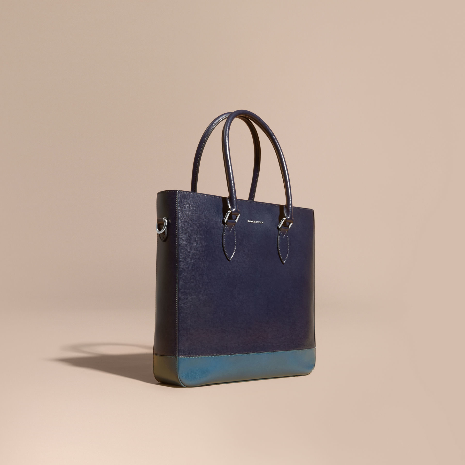 9966a2a318 Burberry Panelled London Leather Tote Bag Dark Navy/mineral Blue in ...