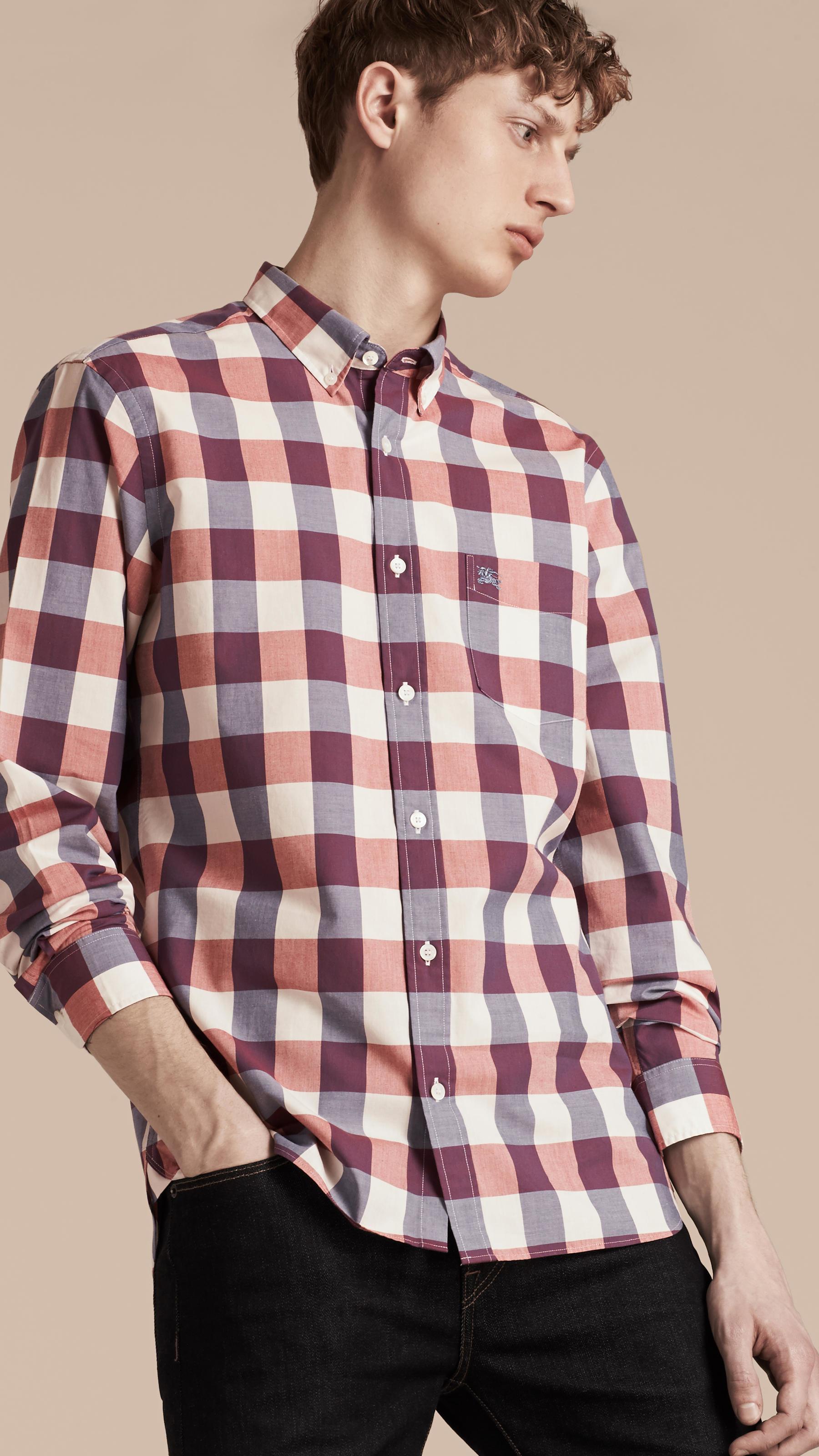 Burberry Button Down Collar Gingham Cotton Shirt Light