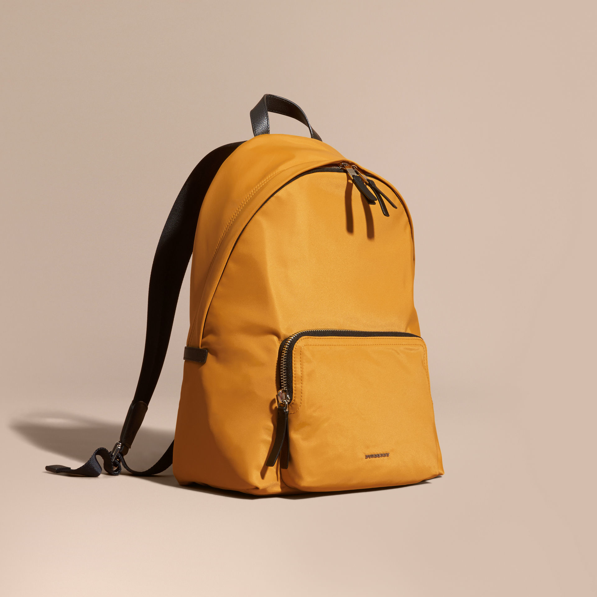 dc44fe283808 Lyst - Burberry Leather Trim Nylon Backpack Amber Yellow for Men