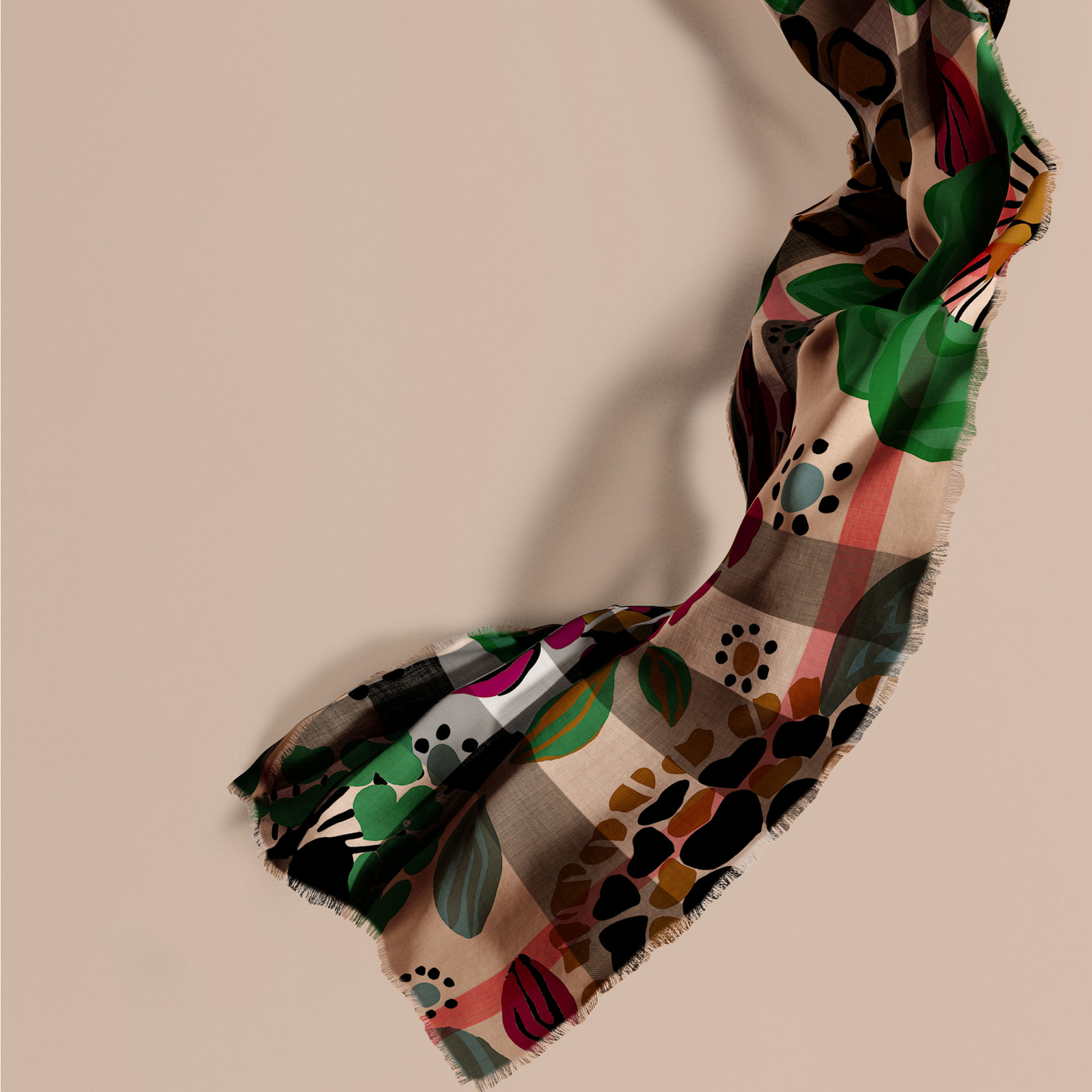 380db2e17535 ... low price lyst burberry the lightweight cashmere scarf in check and  floral dc011 a5e5f ...