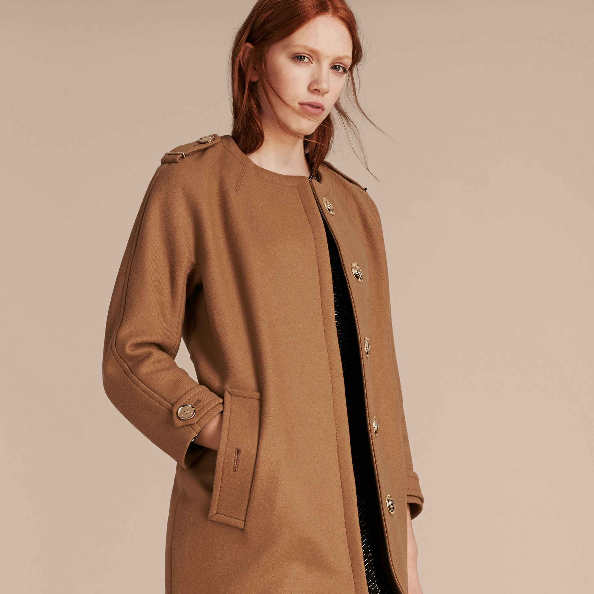 Burberry Technical Wool Cashmere Blend Collarless Coat in ...