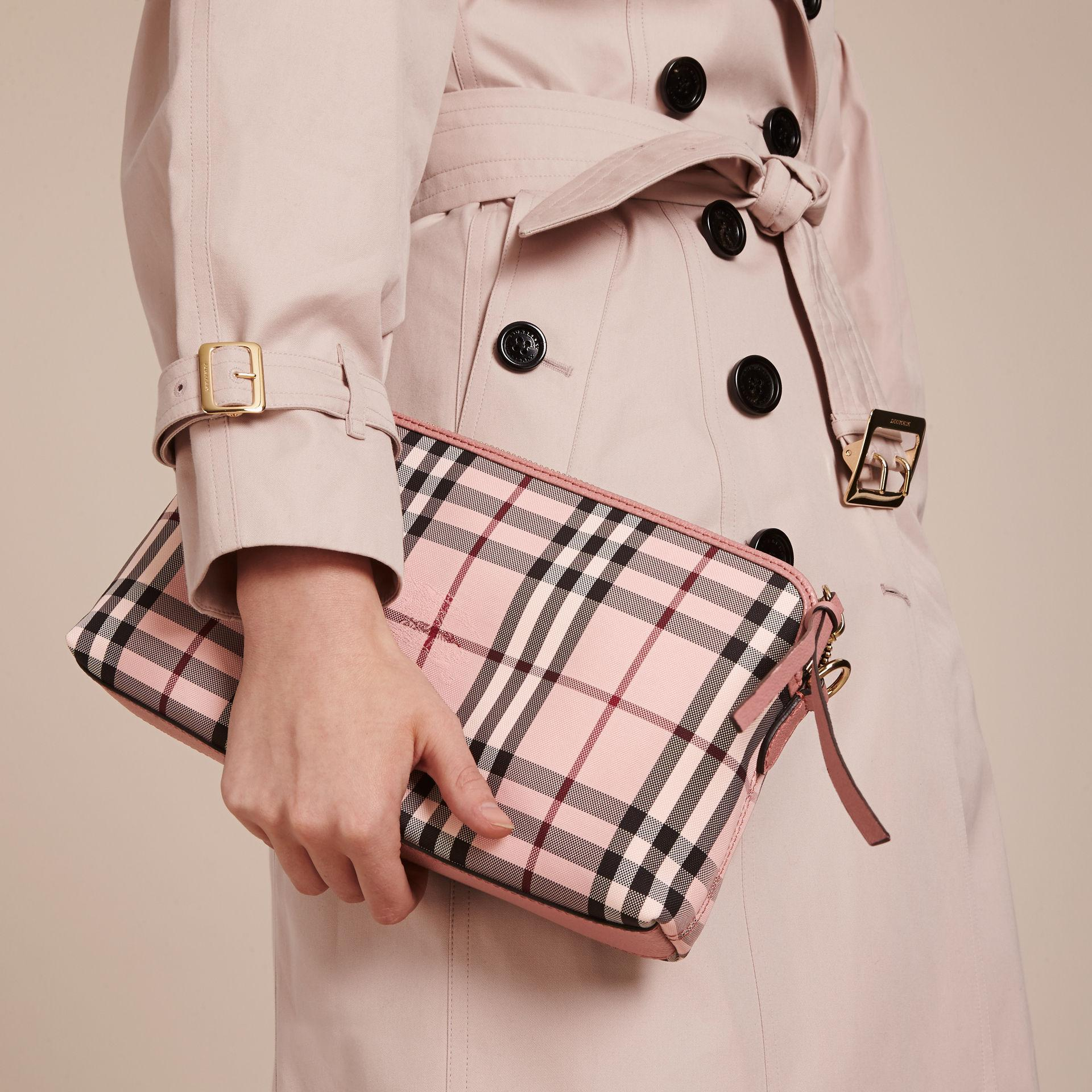 49b67fa3b87d Lyst - Burberry Overdyed Horseferry Check And Leather Clutch Bag in Pink