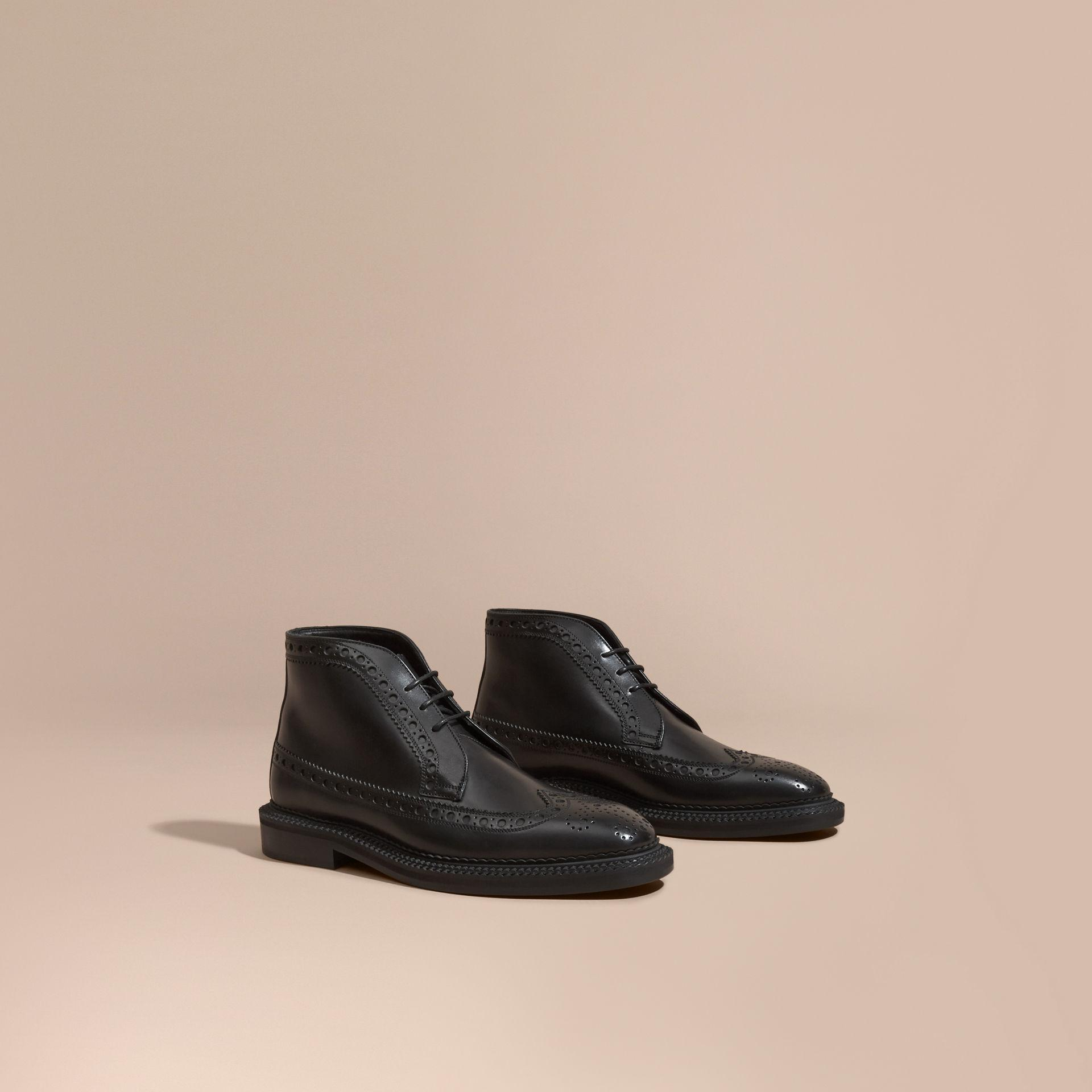 burberry leather brogue boots in black for lyst