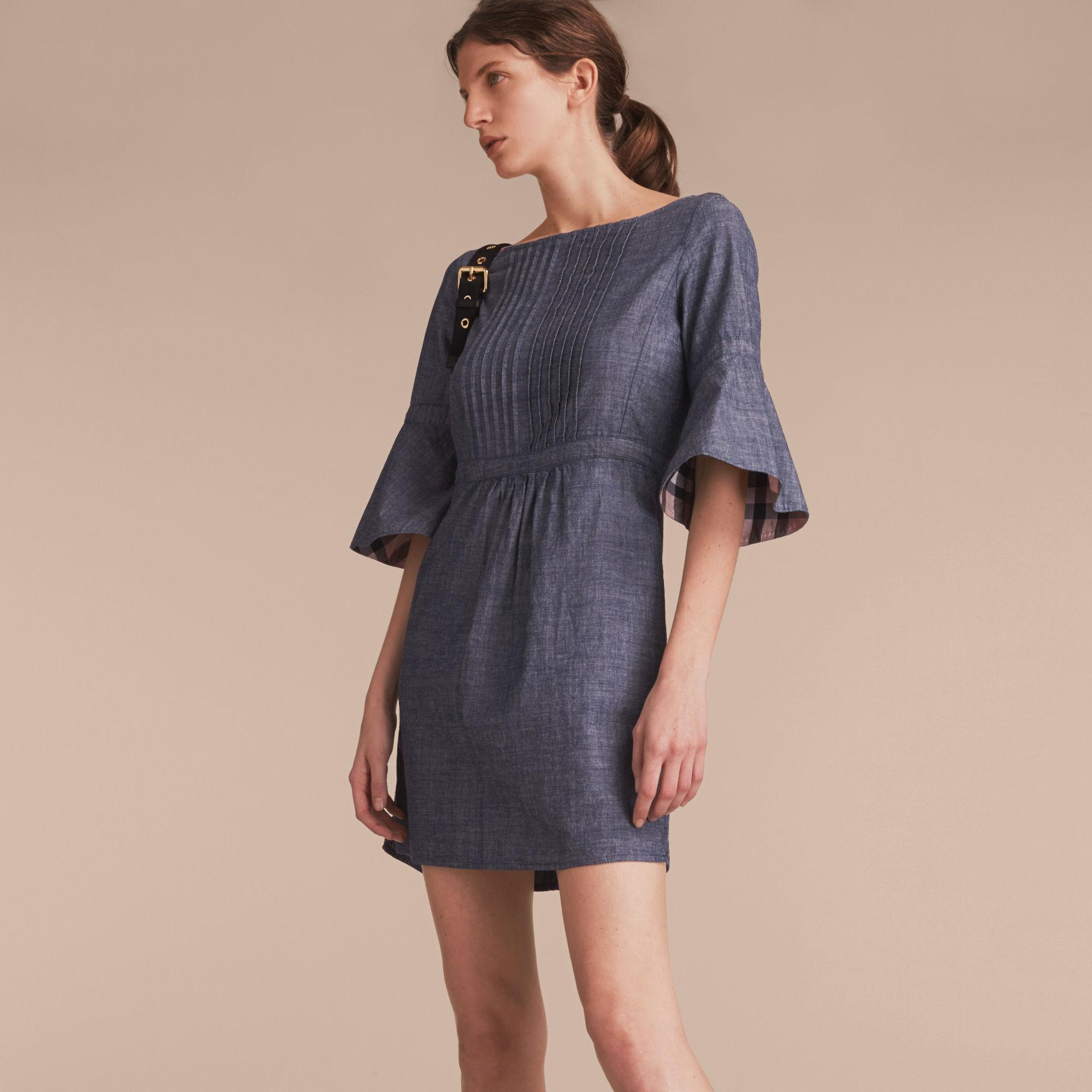 Lyst burberry bell sleeve cotton chambray dress with for Chambray dress