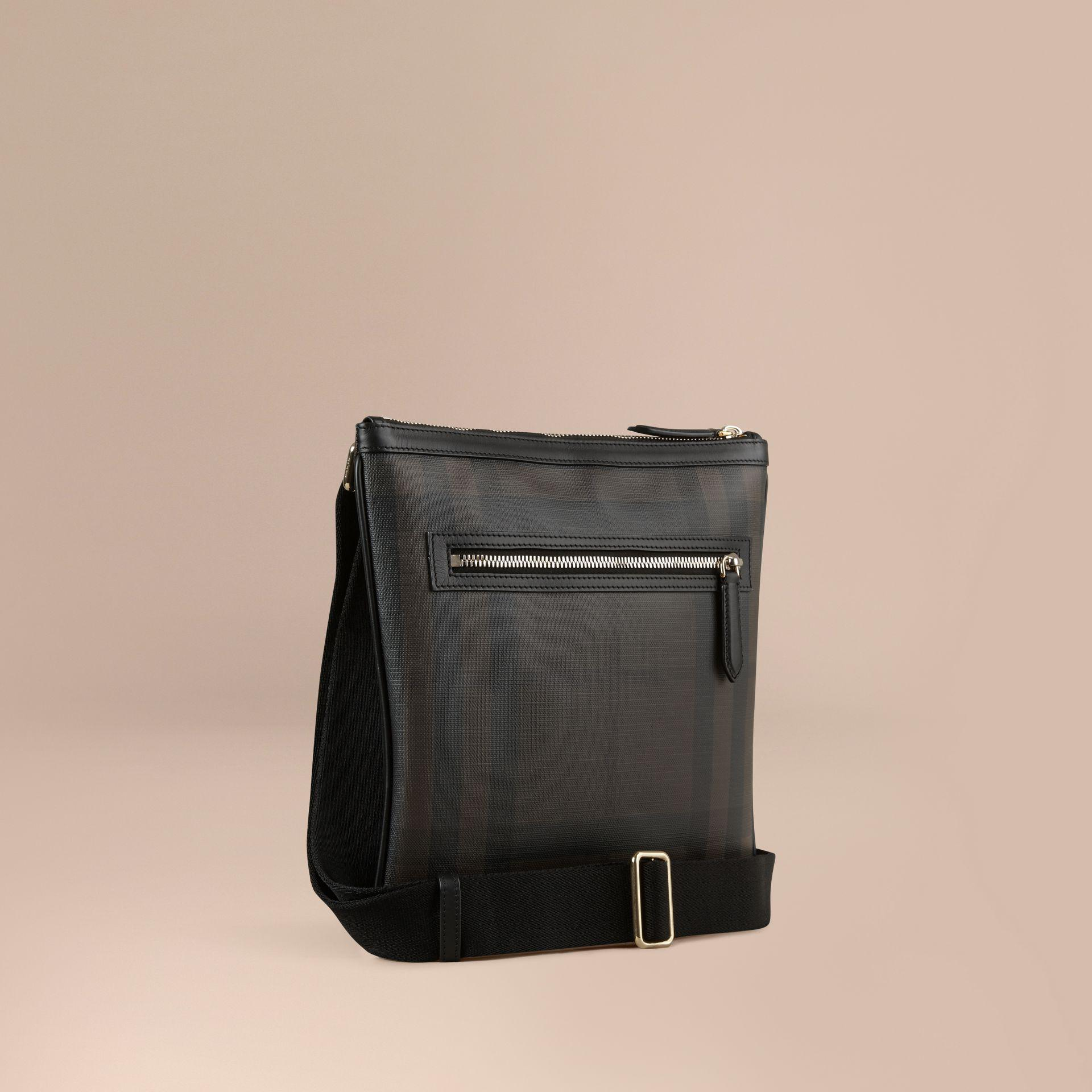 bf0c687bb4ef Lyst - Burberry Leather Trim London Check Crossbody Bag Chocolate ...