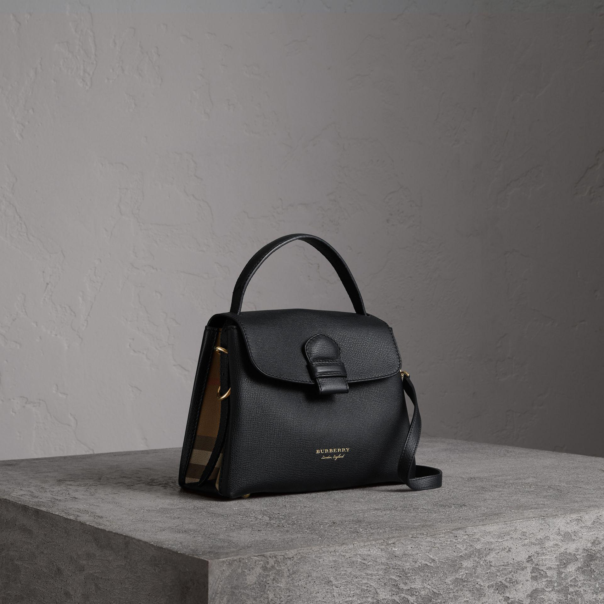 73fe5c1580d1 Burberry Small Grainy Leather And House Check Tote Bag In Black ...