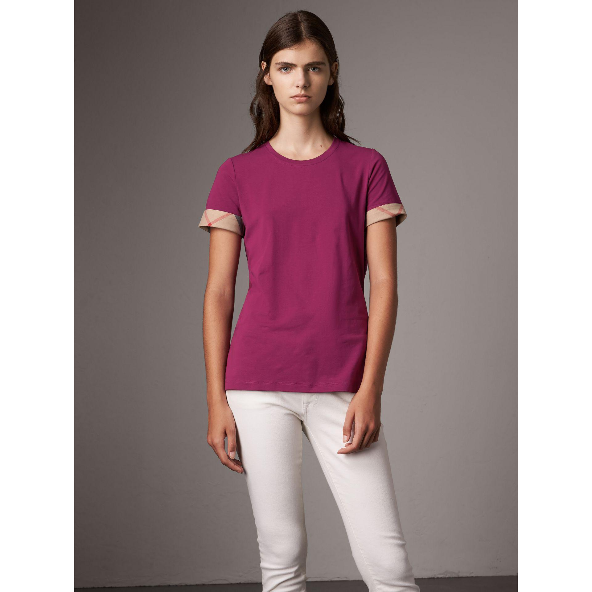 3172927ec3b2 Lyst Burberry Check Cuff Stretch Cotton T Shirt Magenta Pink In Blue