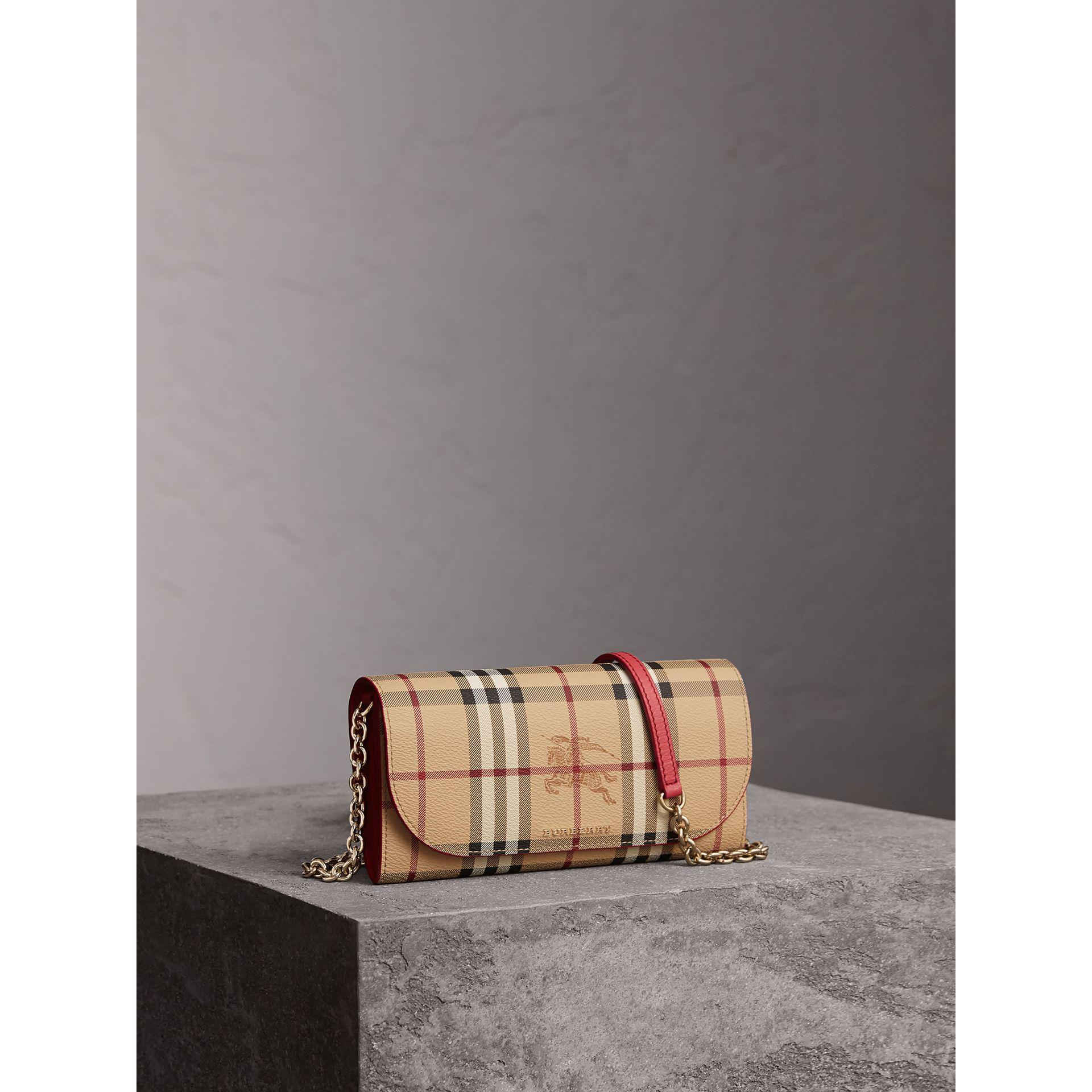 Best Wholesale For Sale Burberry Leather Trim Haymarket Check Wallet with Chain Discount Manchester Great Sale Good Selling Cheap Price Buy Cheap For Cheap Cheap Official TgiKr