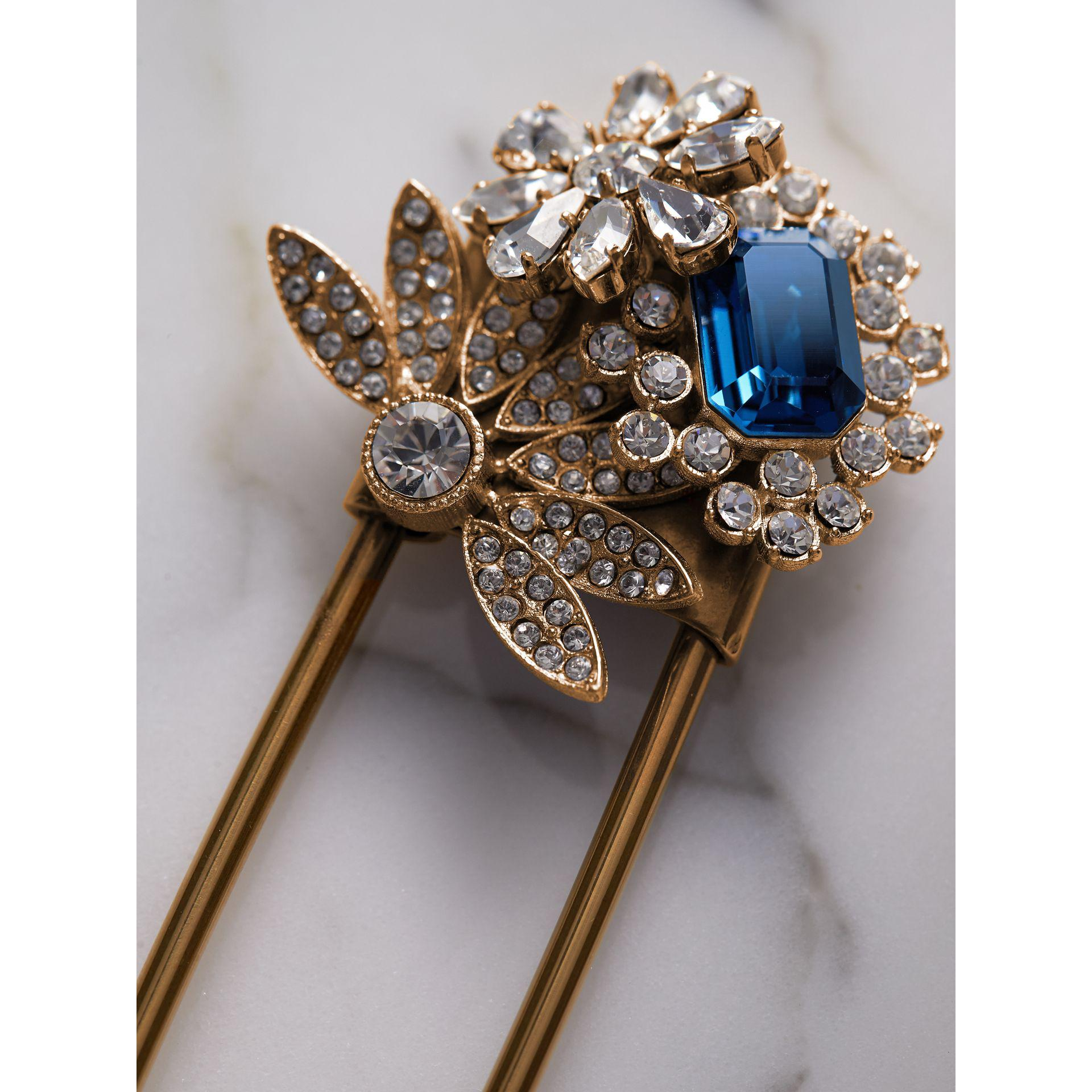 Burberry Crystal and Brass Oversized Pin, Blue