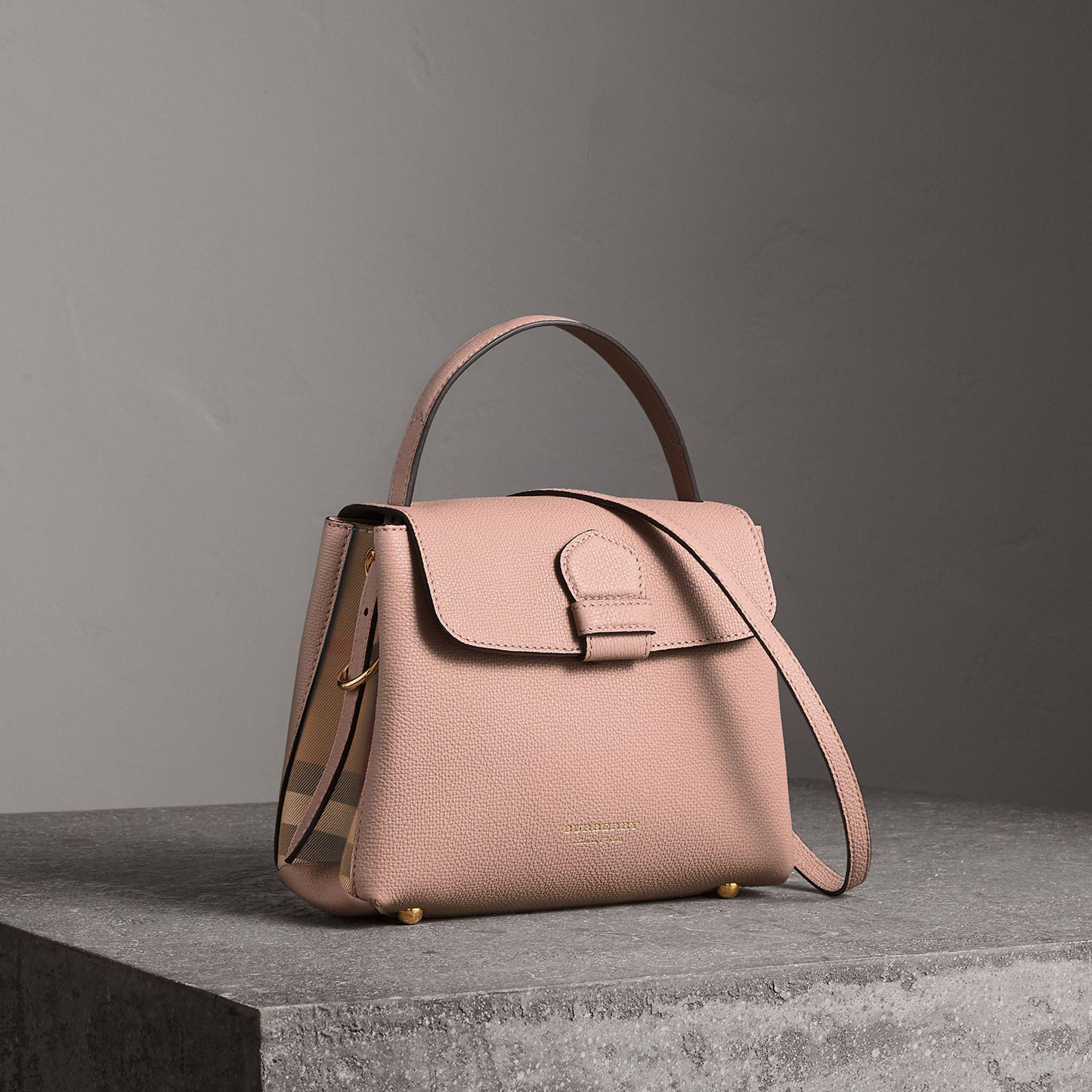 7e43169061ec Lyst - Burberry Small Grainy Leather And House Check Tote Bag in Brown