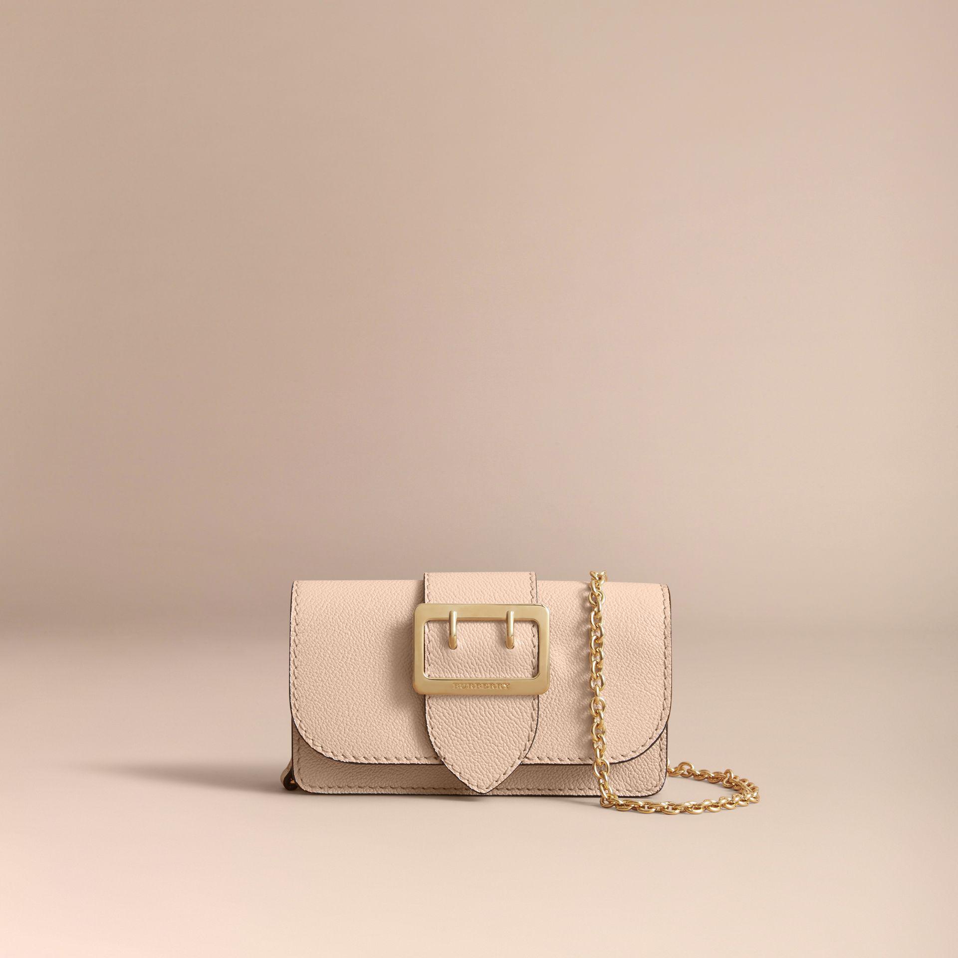 1e85db1dd219 Lyst - Burberry The Mini Buckle Bag In Grainy Leather Limestone