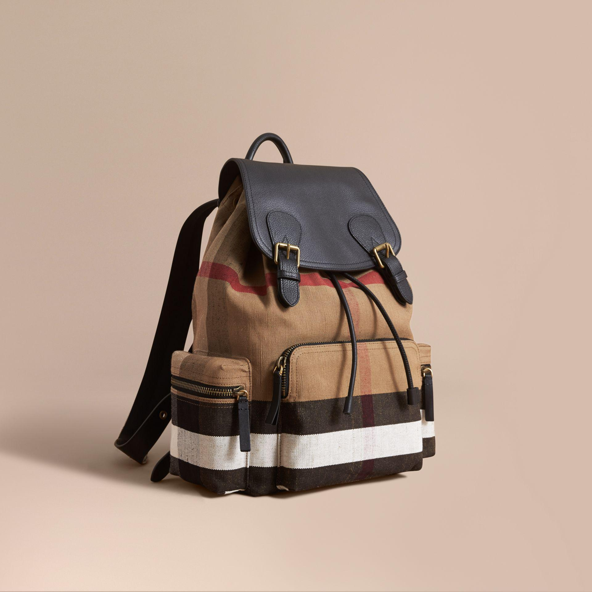 05f5c2eeda1a Lyst - Burberry The Large Rucksack In Canvas Check And Leather ...
