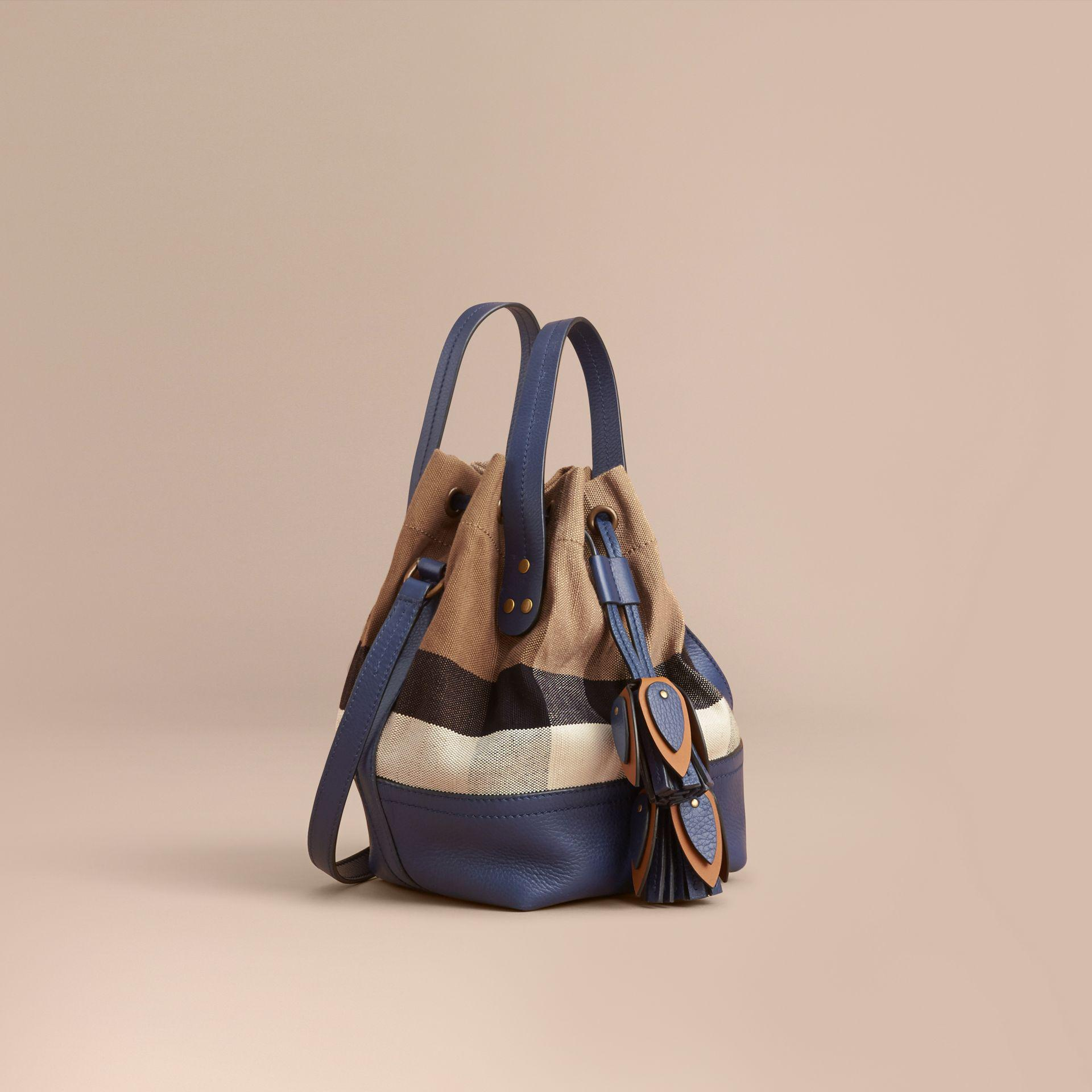 540fa8cd5d22 Lyst - Burberry Small Canvas Check And Leather Bucket Bag In ...