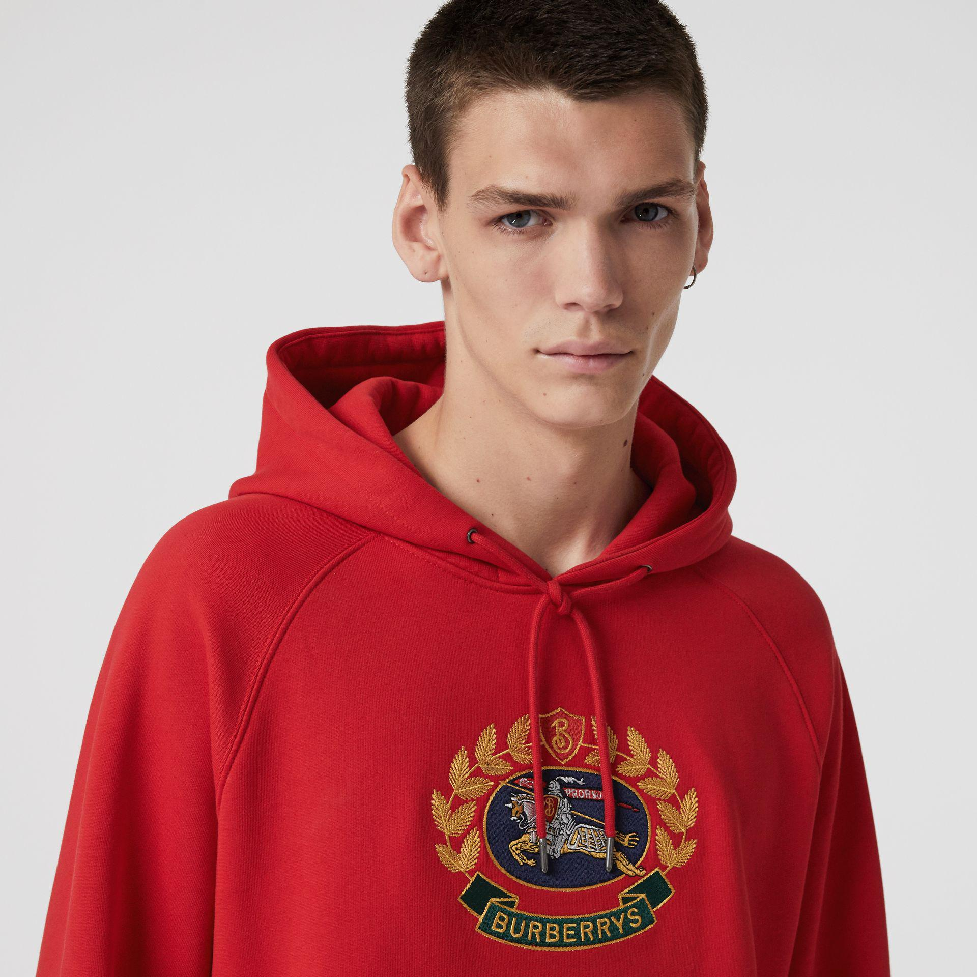 386e754a3f3 Lyst - Burberry Embroidered Archive Logo Jersey Hoodie in Red for Men