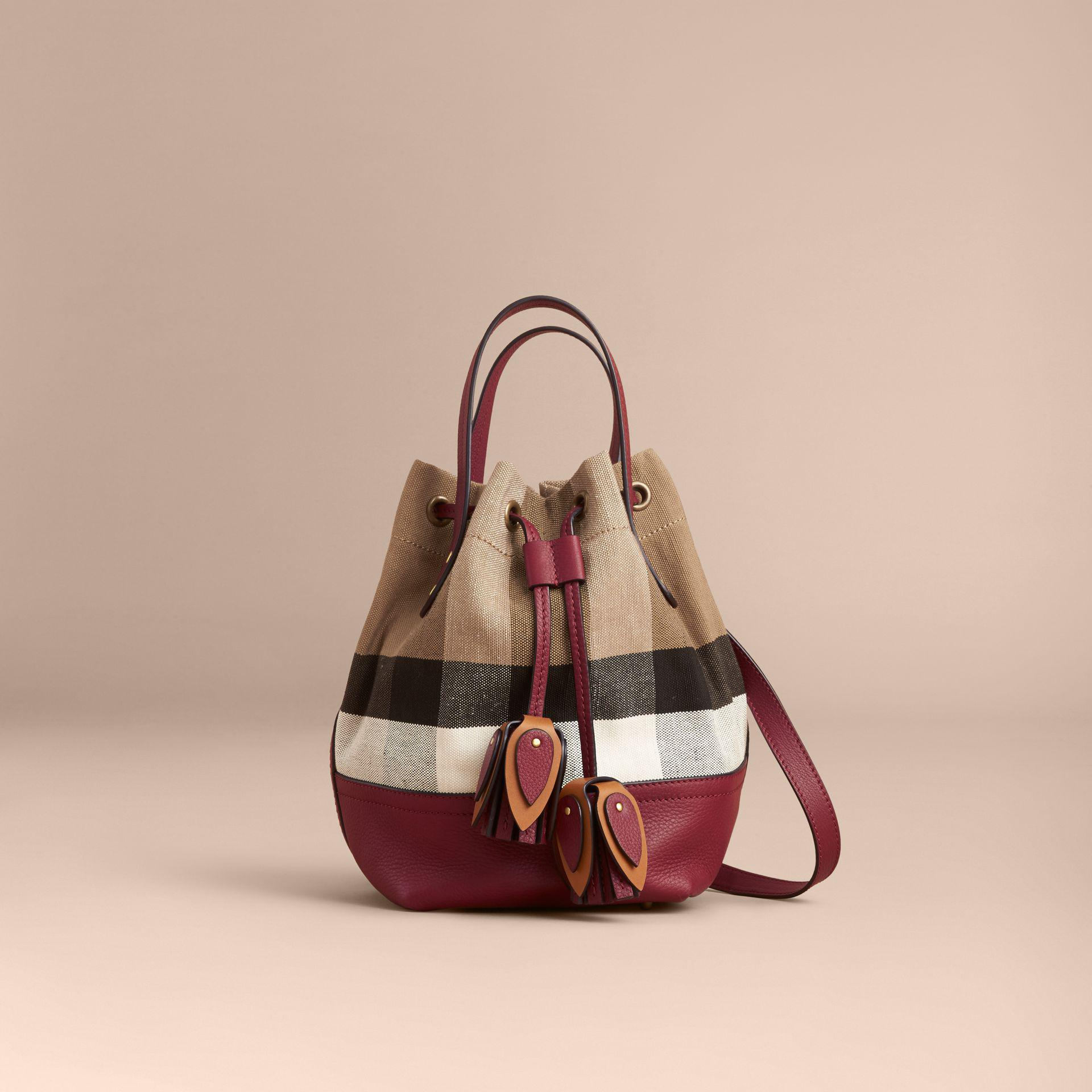 83083d2e63b7 Lyst - Burberry Small Canvas Check And Leather Bucket Bag