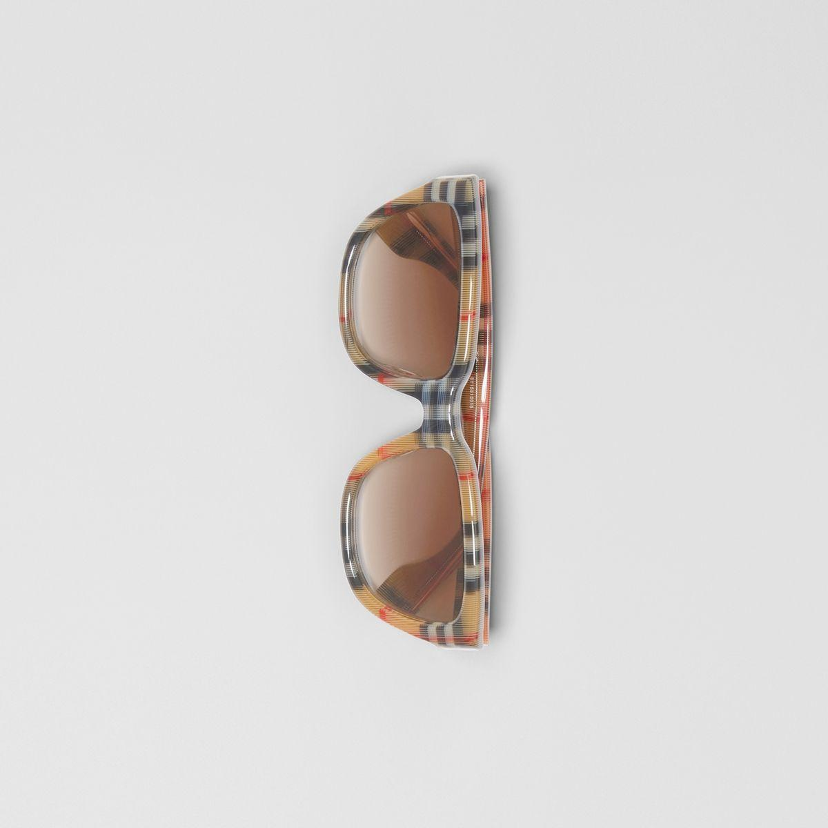 87b03d3945e Burberry - Multicolor Vintage Check Detail Square Frame Sunglasses - Lyst.  View fullscreen