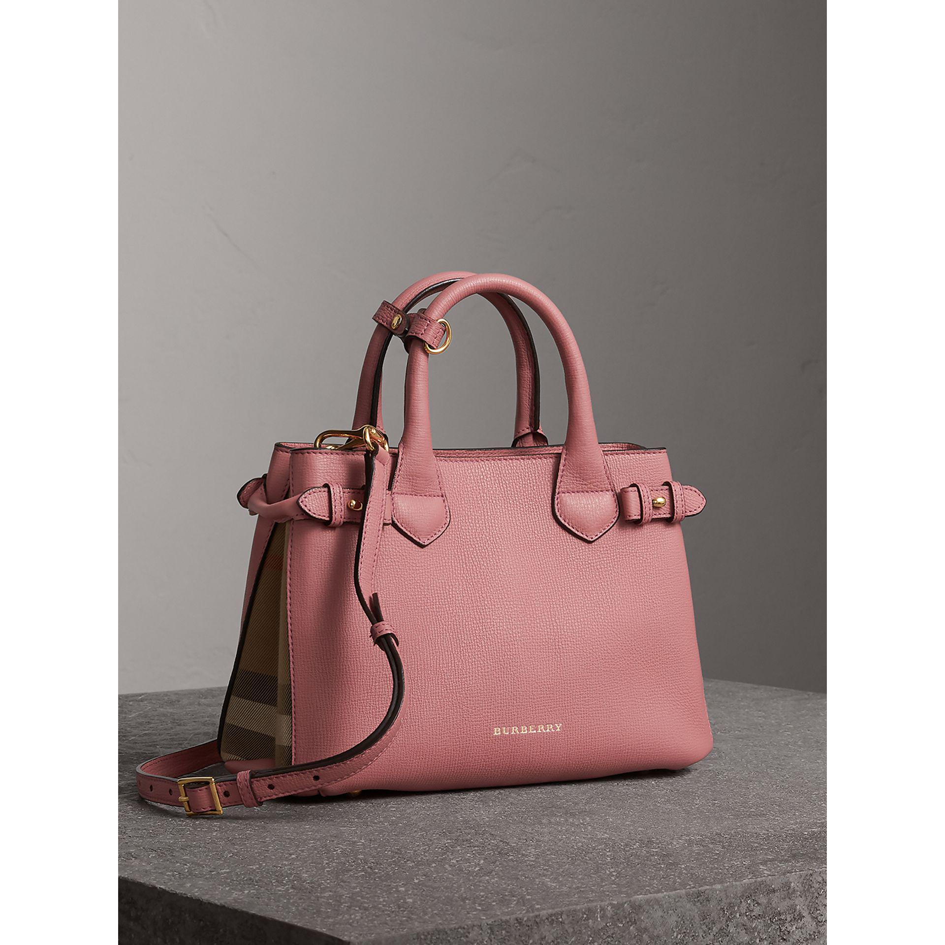 2f611476cb16 Lyst - Burberry The Small Banner In Leather And House Check Mauve Pink