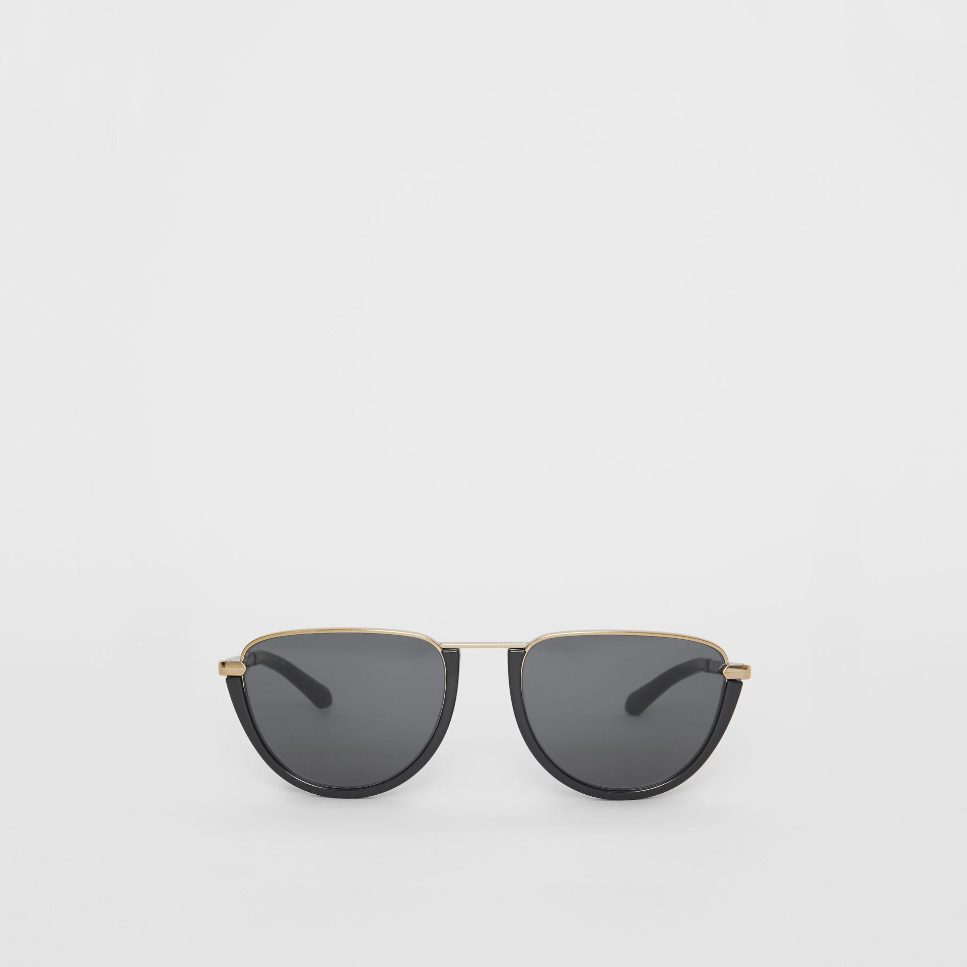 0e86592802 Burberry - Black Half Moon Pilot Round Frame Sunglasses - Lyst. View  fullscreen