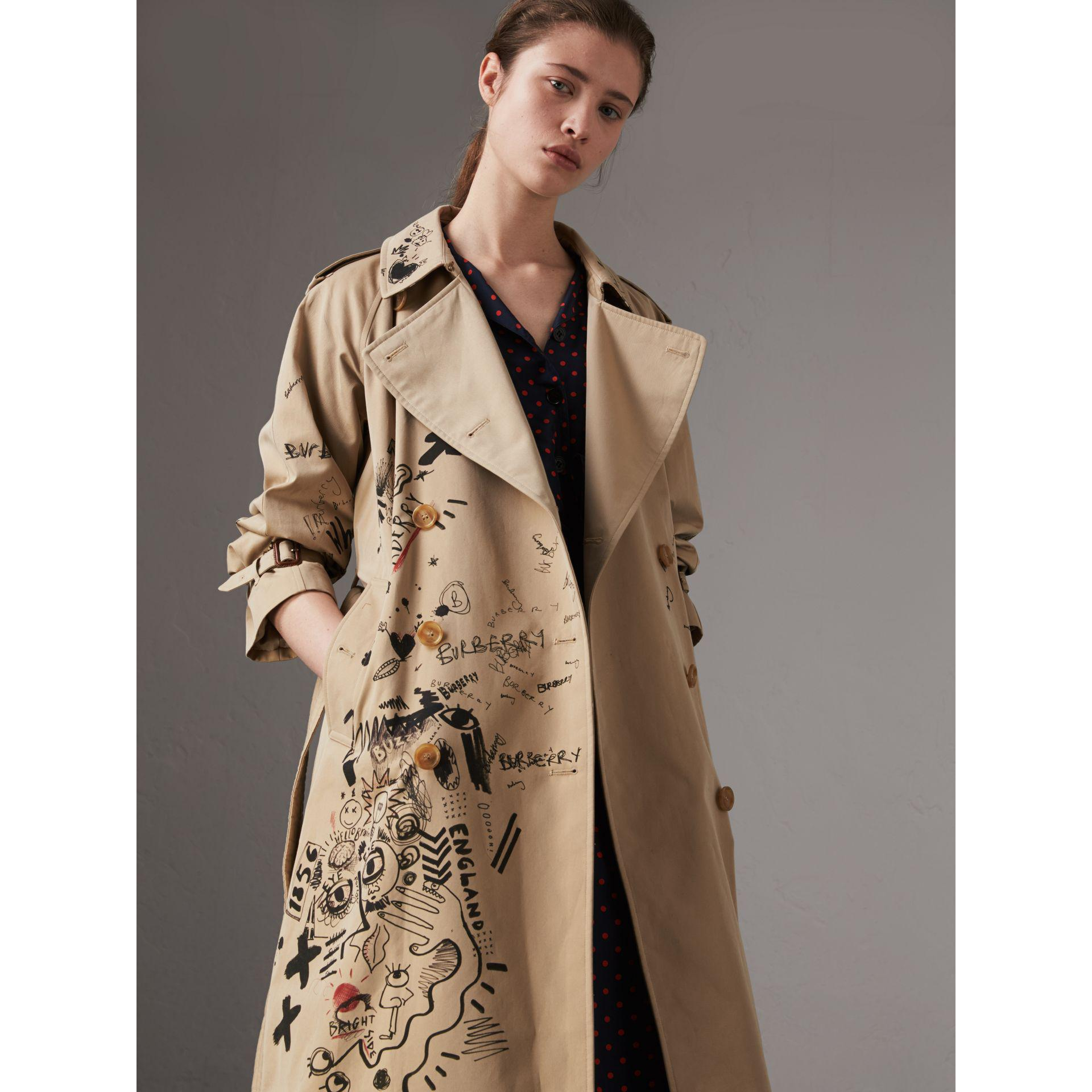 Lyst Burberry Sketch Print Cotton Gabardine Trench Coat
