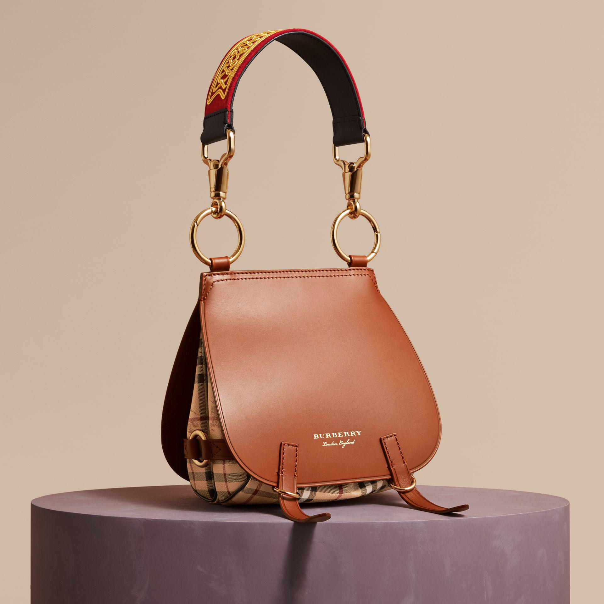 44bf415c0326 Lyst - Burberry The Bridle Bag In Leather And Haymarket Check