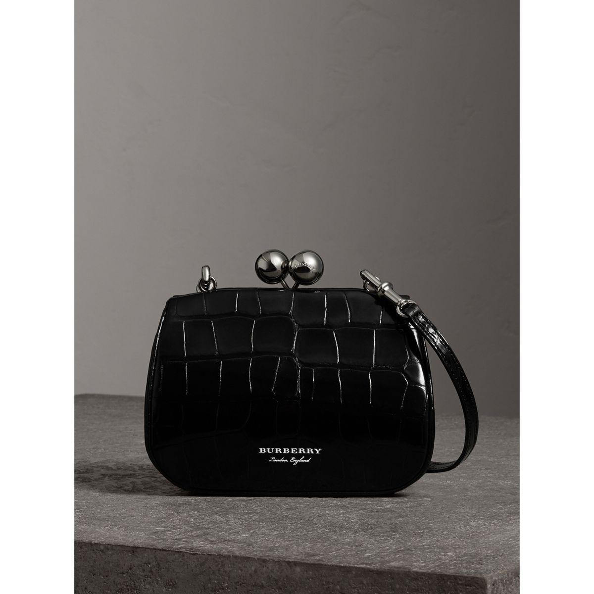 85c87a6ddc Burberry Small Alligator Frame Bag in Black - Lyst