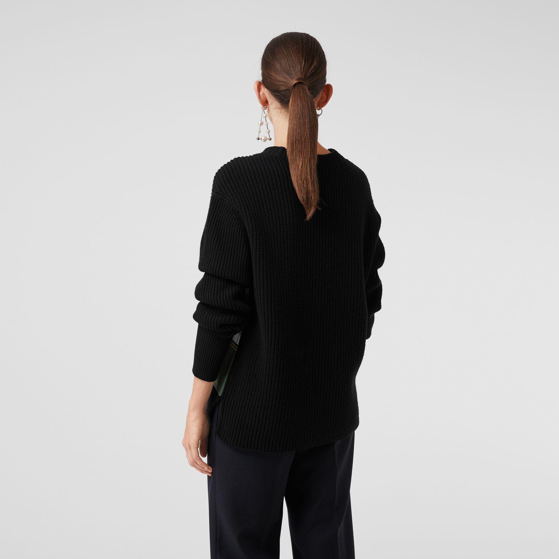 de2852b31874 Lyst - Burberry Archive Scarf Print Panel Wool Sweater in Black