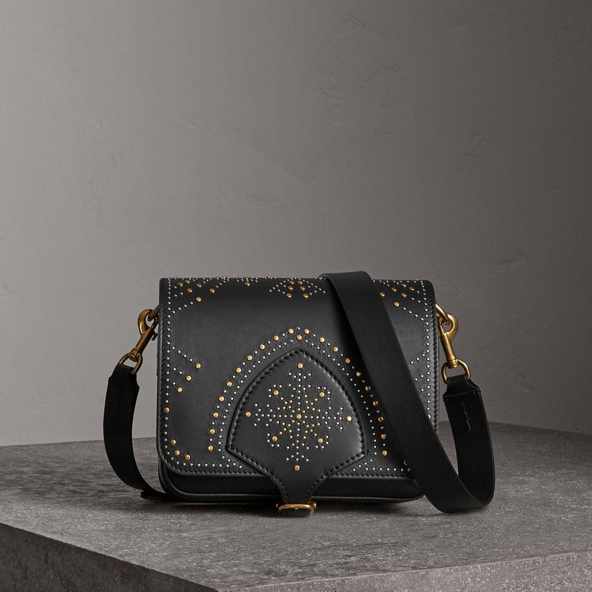 a62049721501 Burberry The Square Satchel In Riveted Leather in Black - Lyst