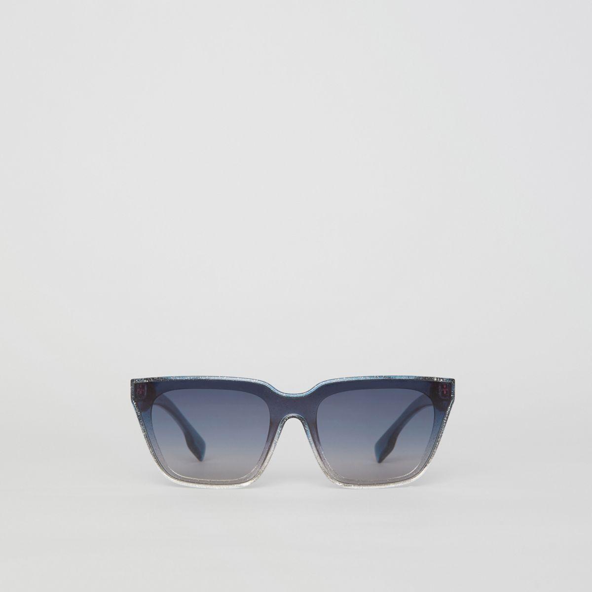 cecae0cf560196 Burberry - Blue Glitter Detail Square Frame Shield Sunglasses - Lyst. View  fullscreen