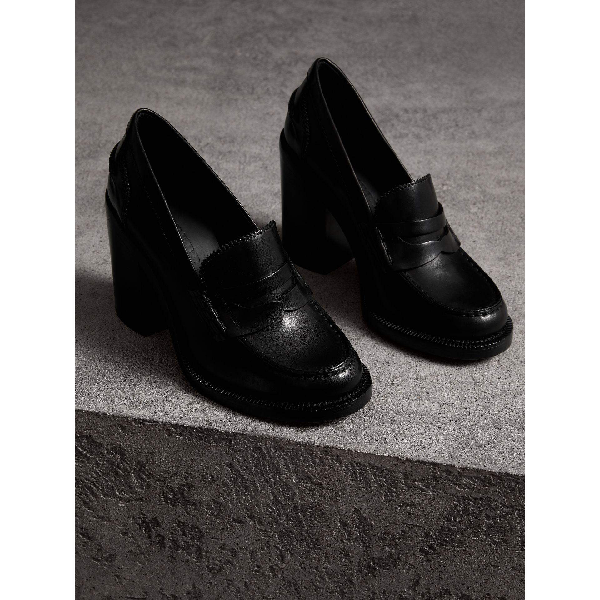 b35c087abd3 Lyst - Burberry Leather Block-heel Penny Loafers in Black