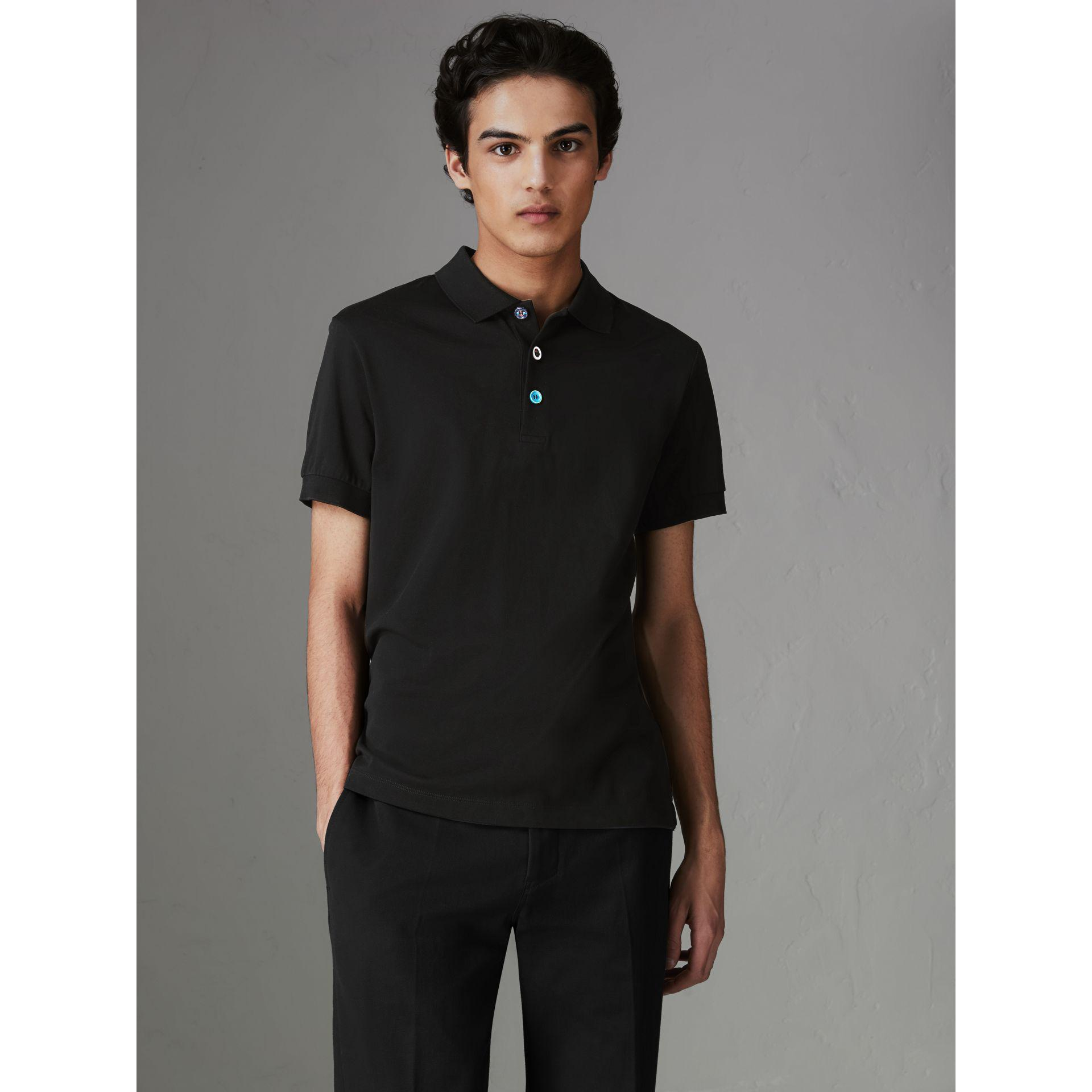 c29f6504accc2 Burberry Painted Button Cotton Piqué Polo Shirt in Black for Men - Lyst