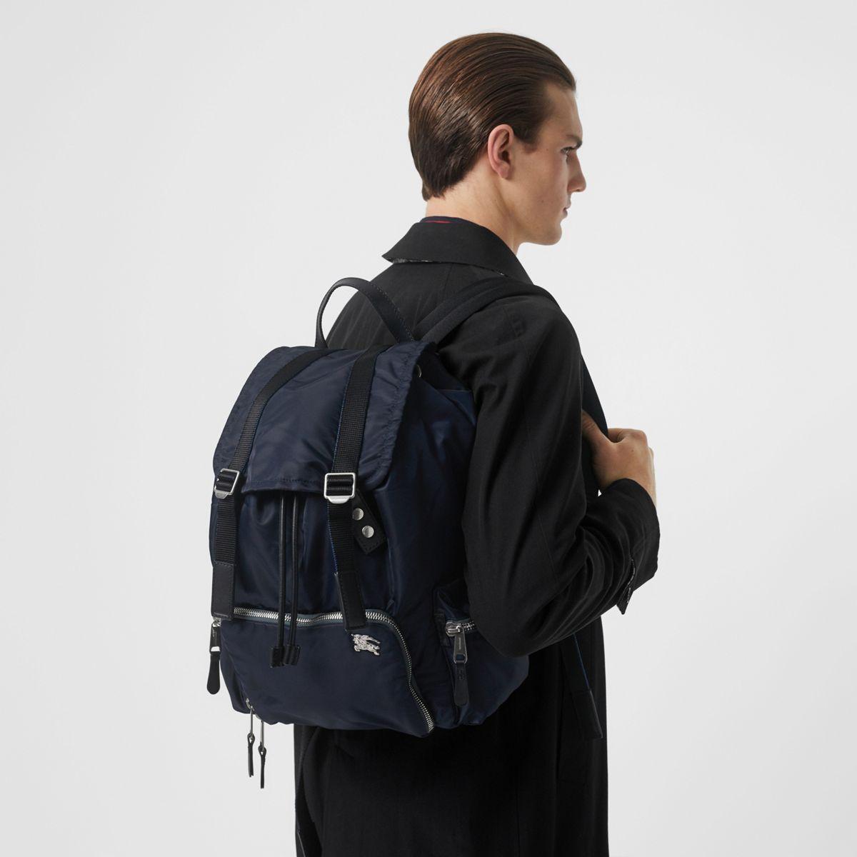b31f5d4e3b0d Burberry - Blue Leather-trimmed Nylon Backpack for Men - Lyst. View  fullscreen