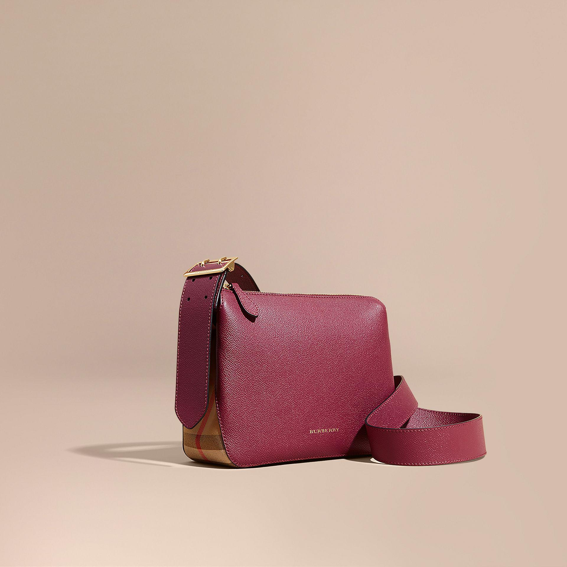Burberry Buckle Detail Leather And House Check Crossbody Bag Dark ... d5f52a9c02