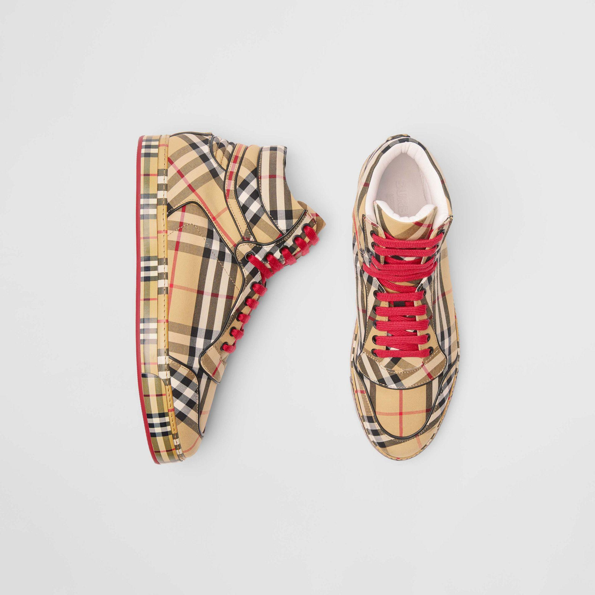 9985591afe18 Burberry Vintage Check Cotton High-top Sneakers for Men - Lyst