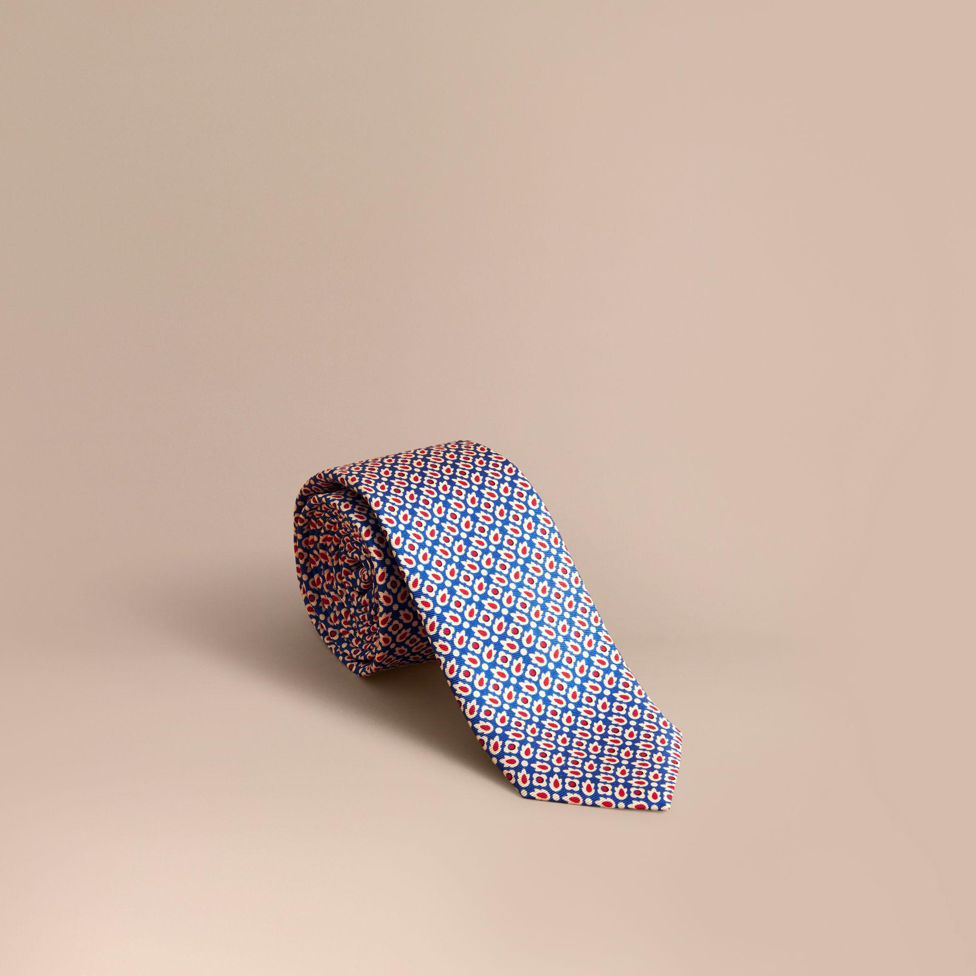 Mince Coupe Cravate Abstraite De Soie Imprimé Floral - Bleu Burberry brcyT3