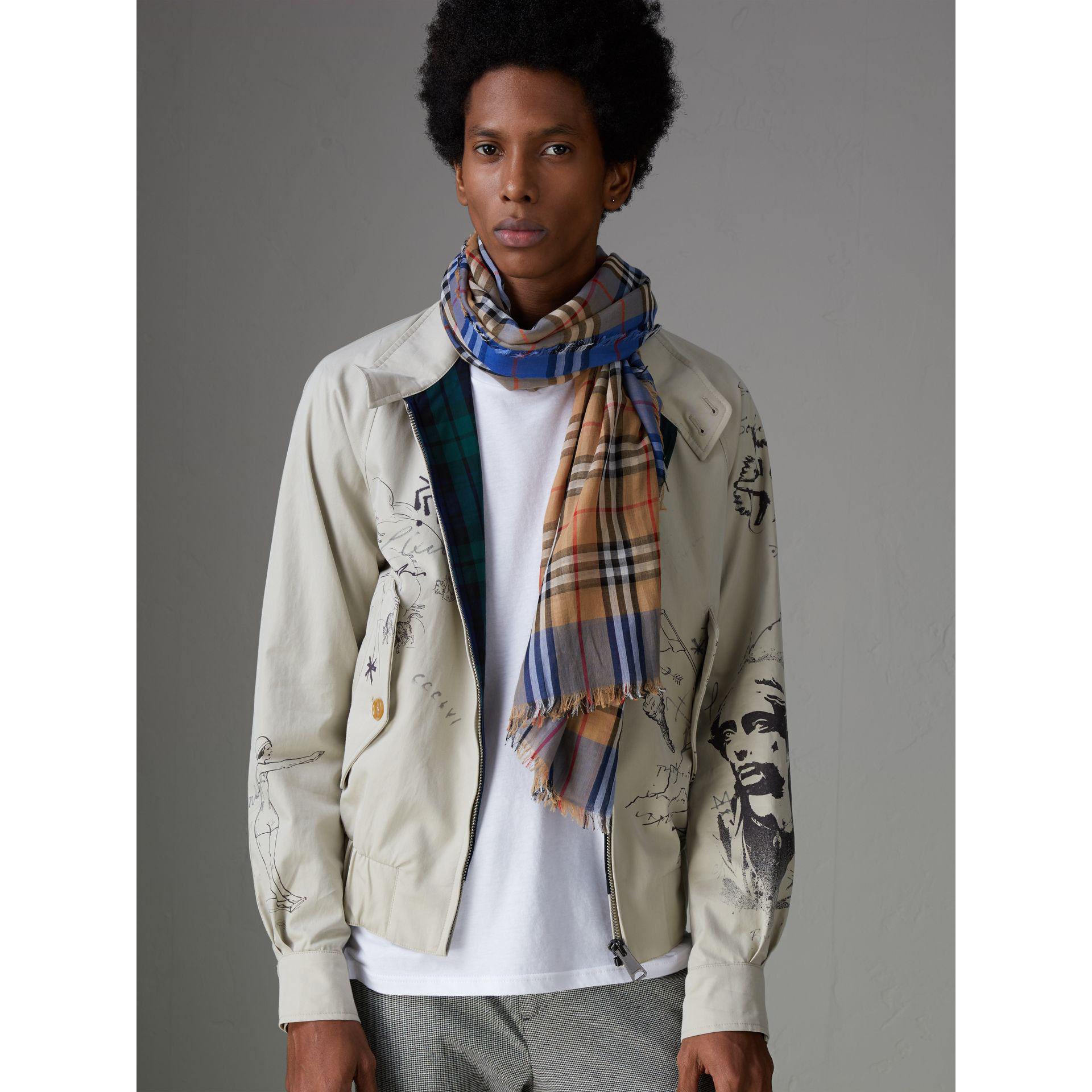 de bufanda cuadros algodón vintage dos Burberry tonos a cuadrada de 0waaqPp