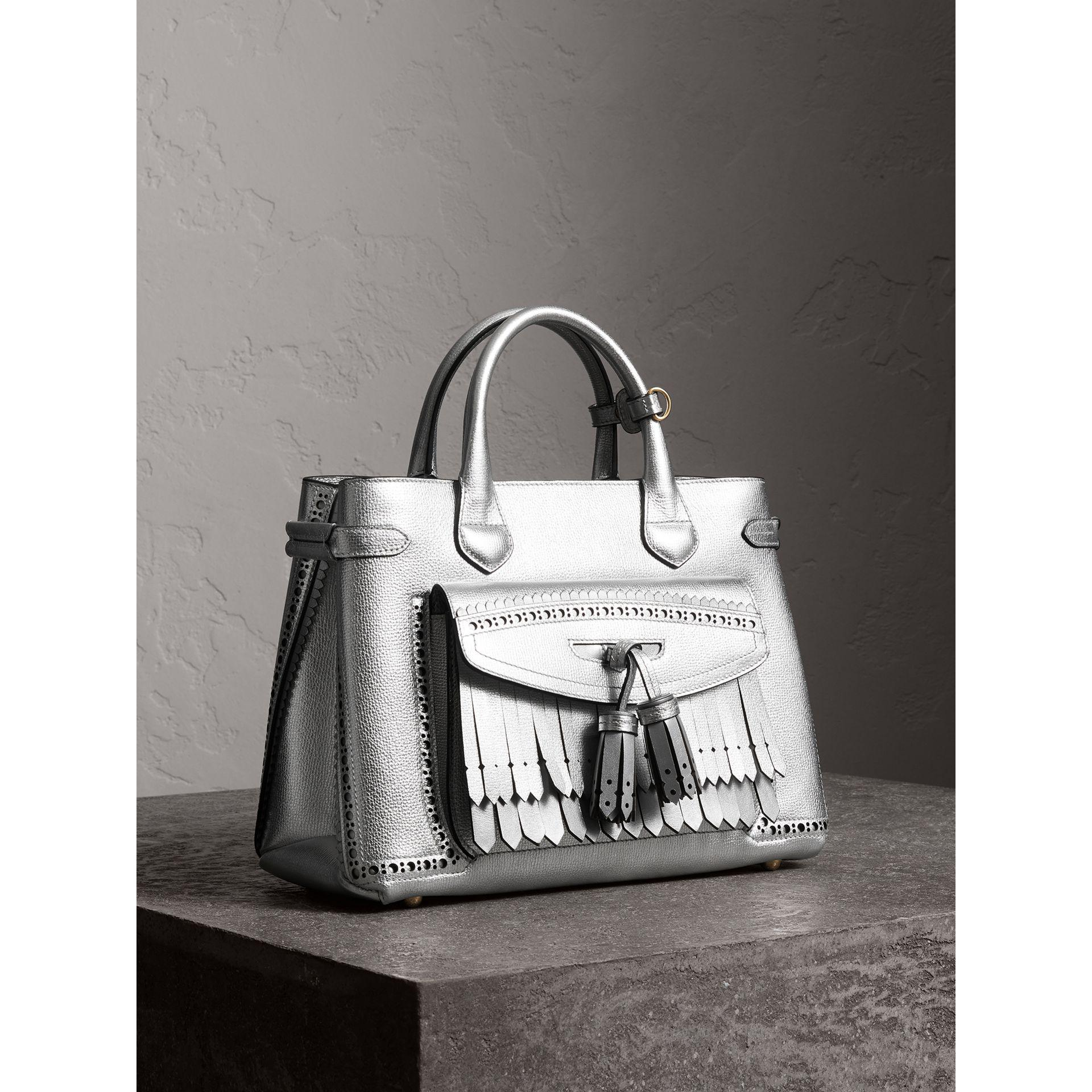 6d8a3c1557cd Lyst - Burberry The Medium Banner In Metallic Leather With Brogue ...