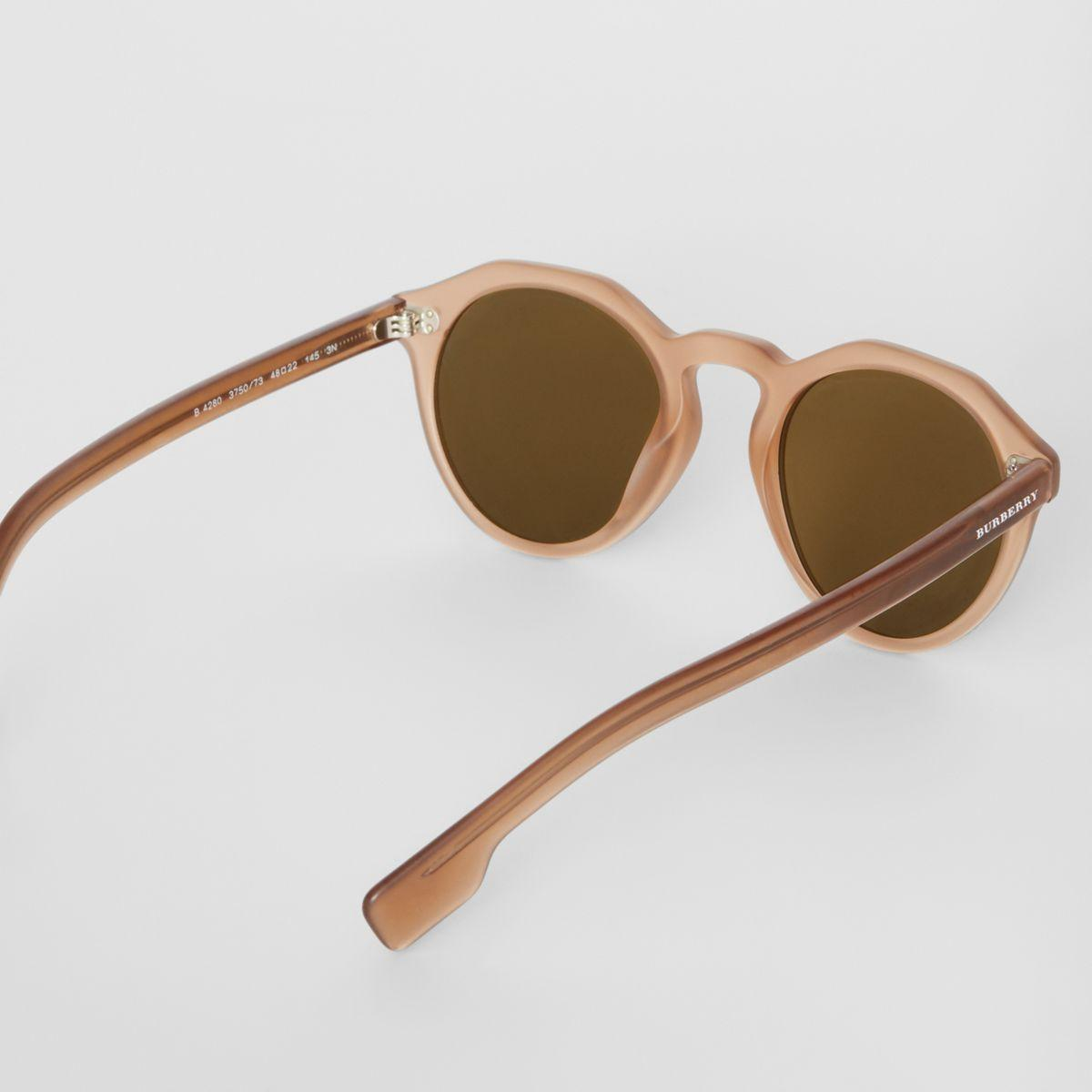 22e564e05fee Burberry - Brown Keyhole Round Frame Sunglasses for Men - Lyst. View  fullscreen